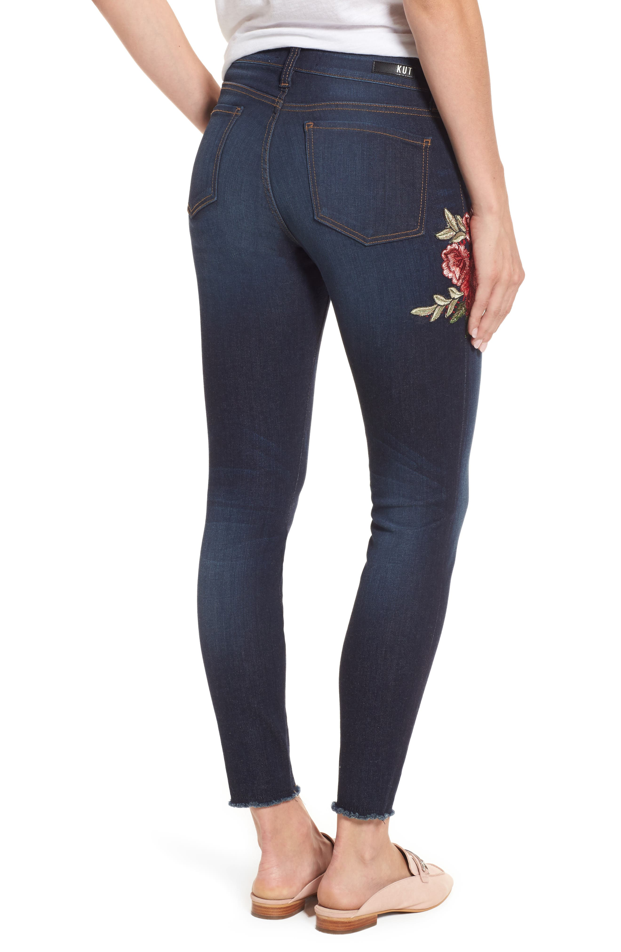 Alternate Image 3  - KUT from the Kloth Connie Embroidered Skinny Ankle Jeans (Composure)