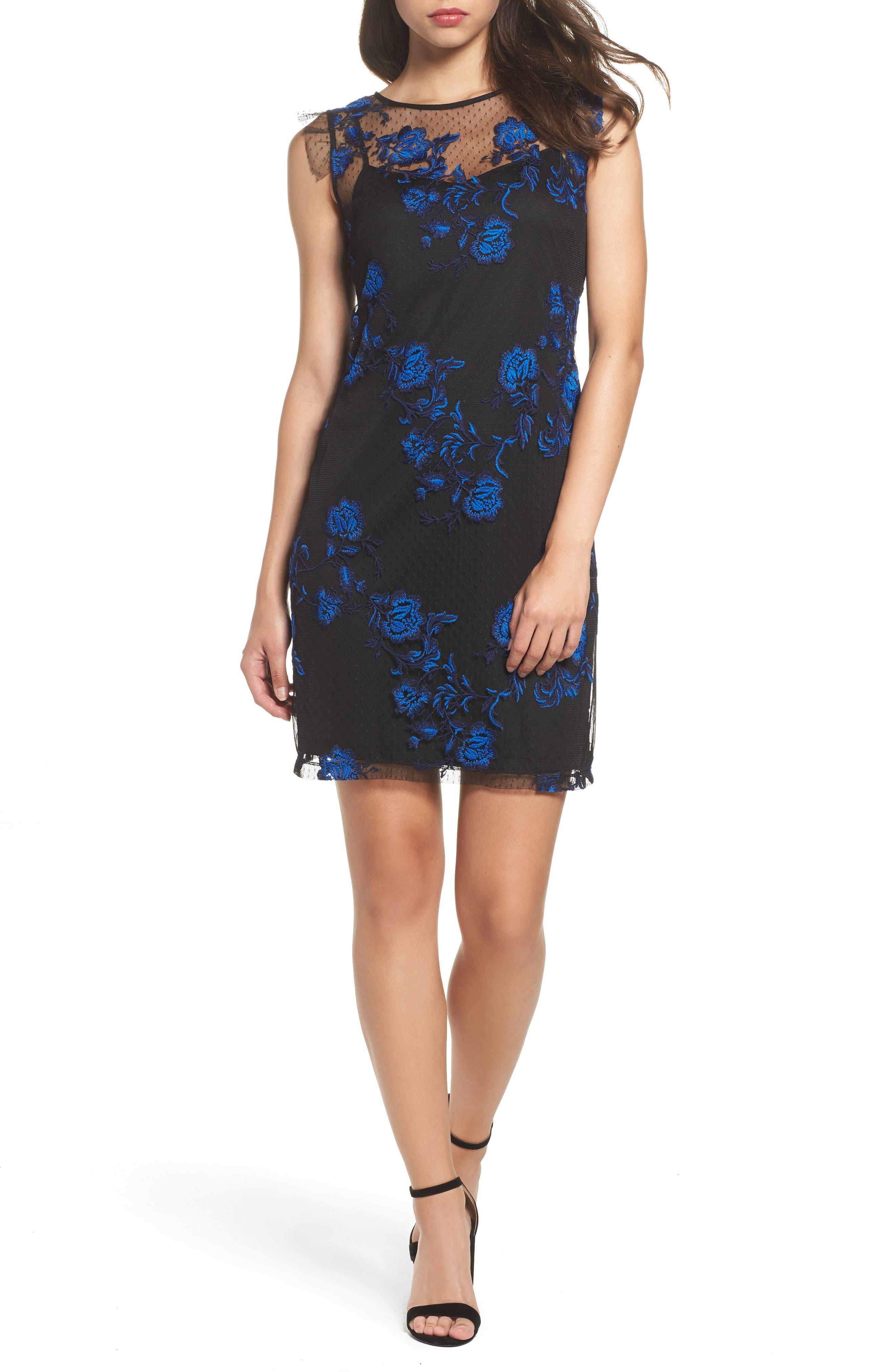 Embroidered Mesh Sheath Dress,                             Main thumbnail 1, color,                             Blue/ Black