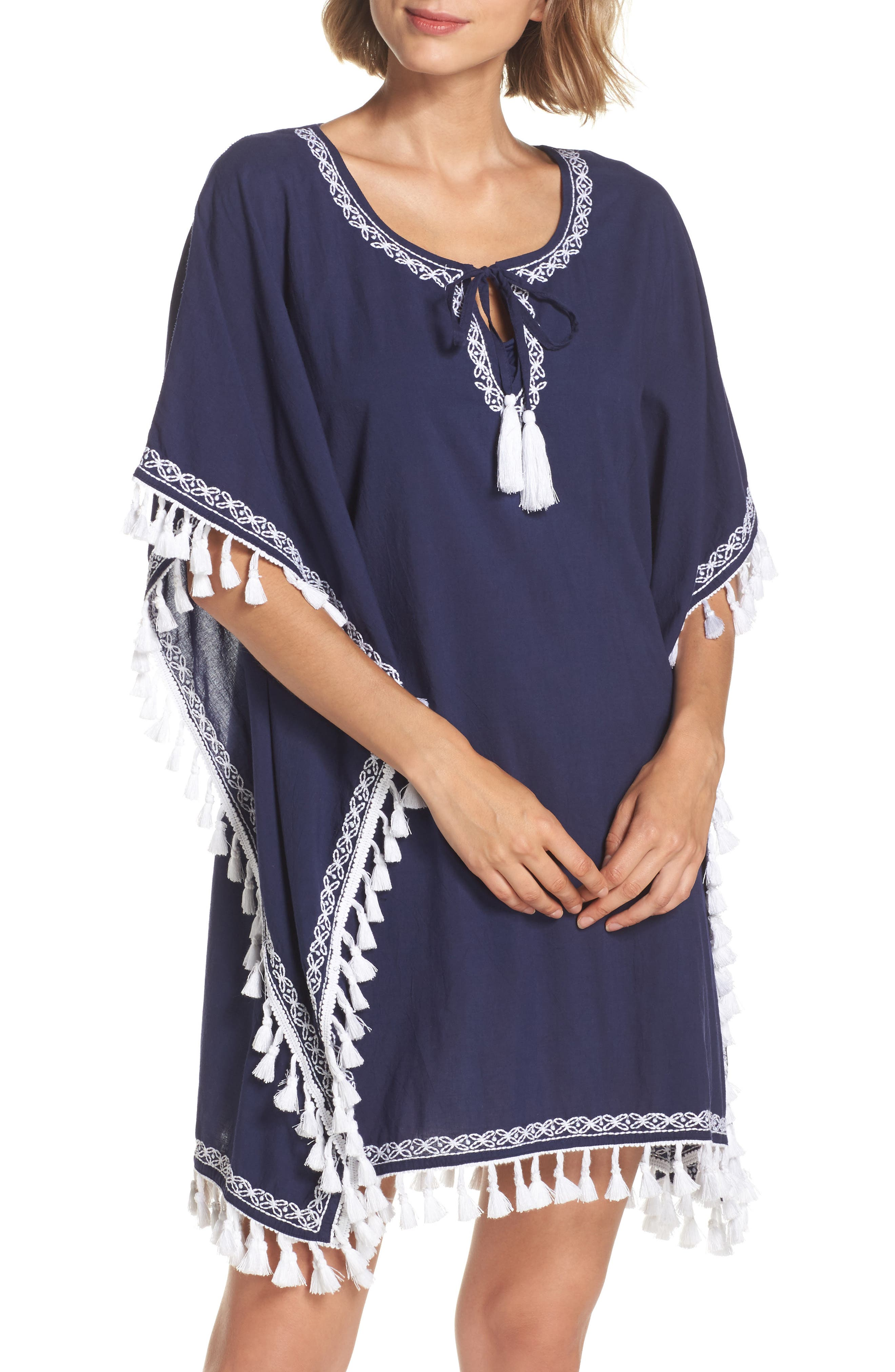 Voile Cover-Up Tunic,                         Main,                         color, Mare Navy/ White