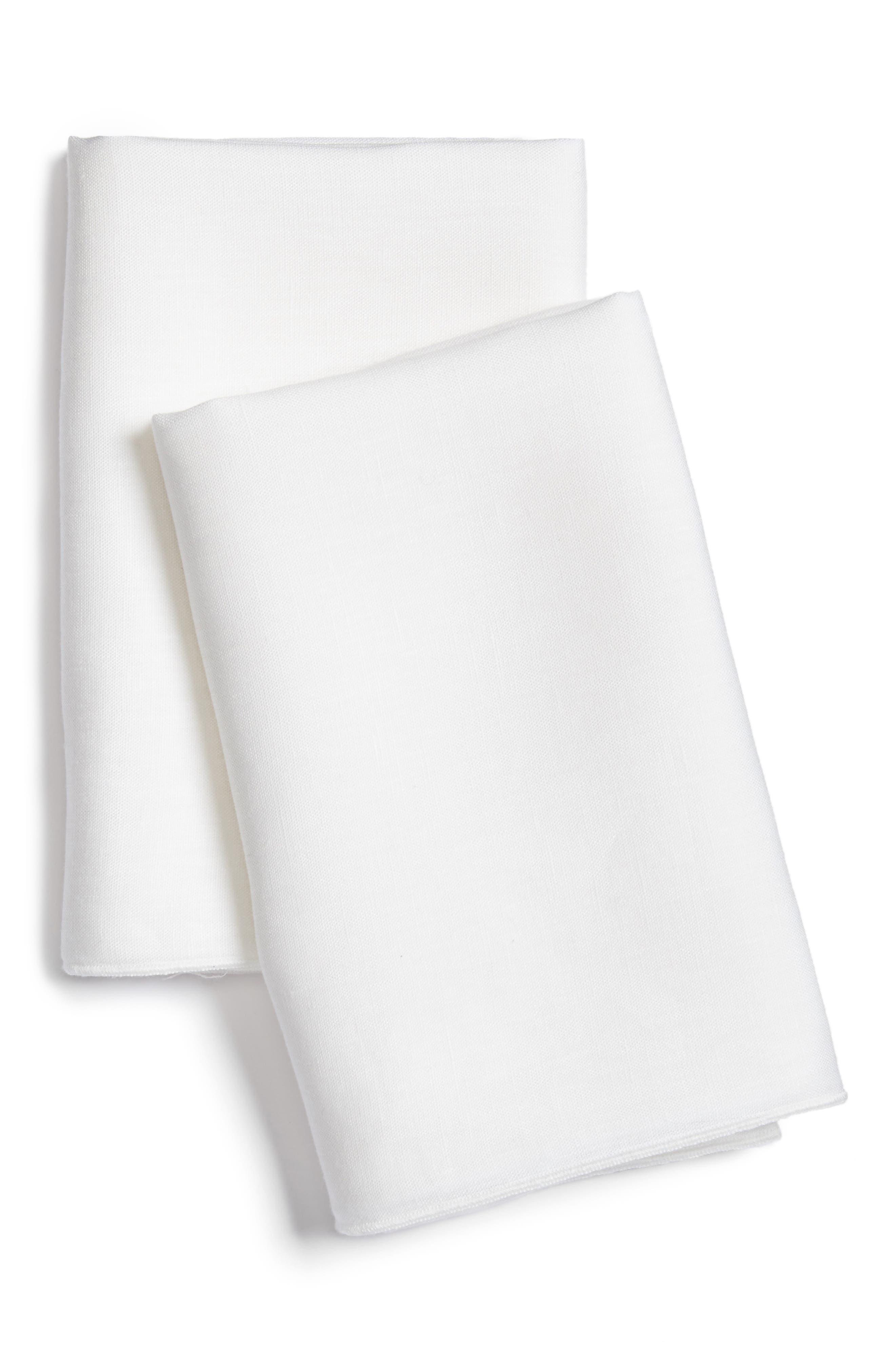 Solo Linen Pillowcases,                         Main,                         color, White