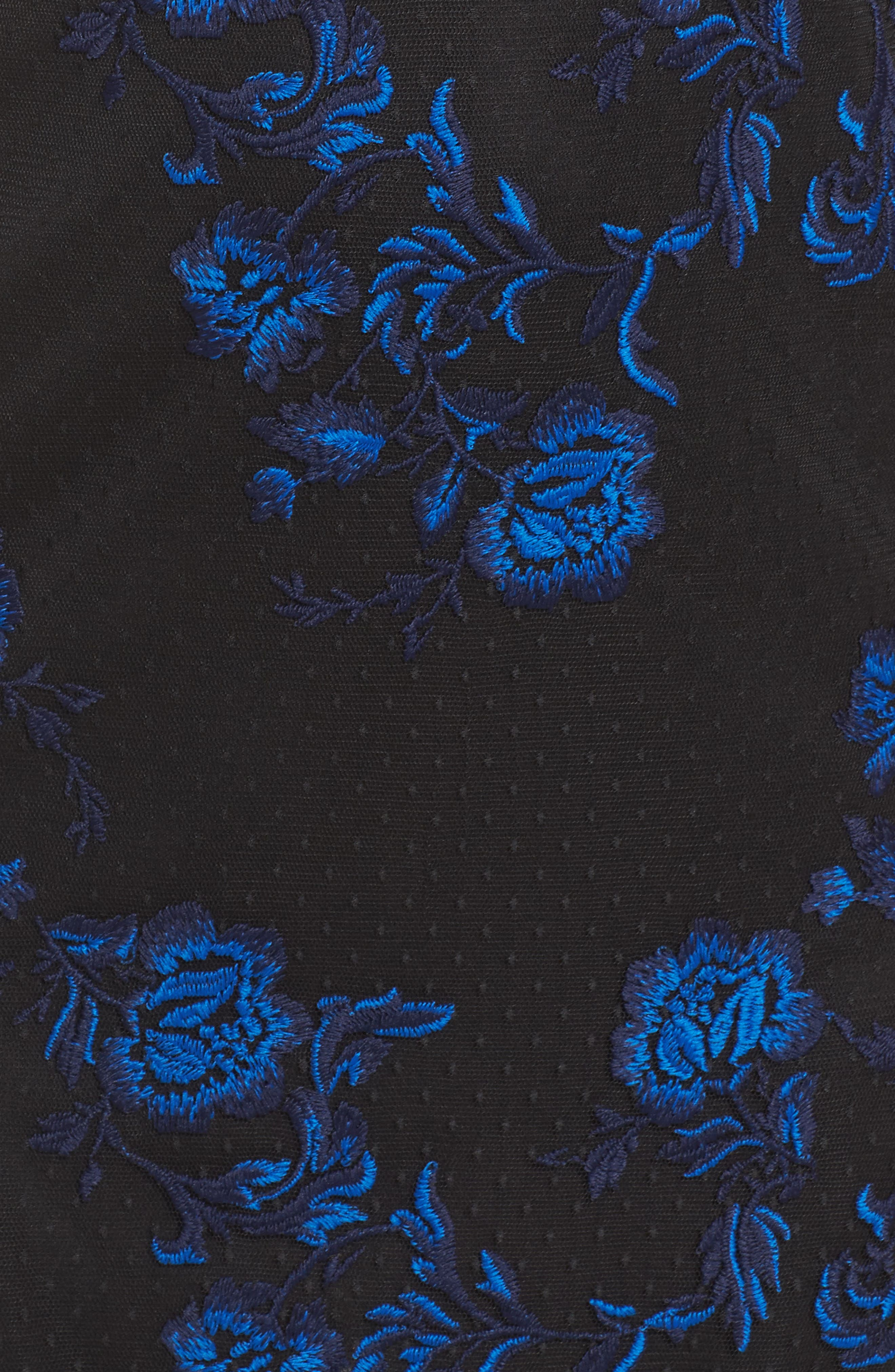 Embroidered Mesh Sheath Dress,                             Alternate thumbnail 5, color,                             Blue/ Black