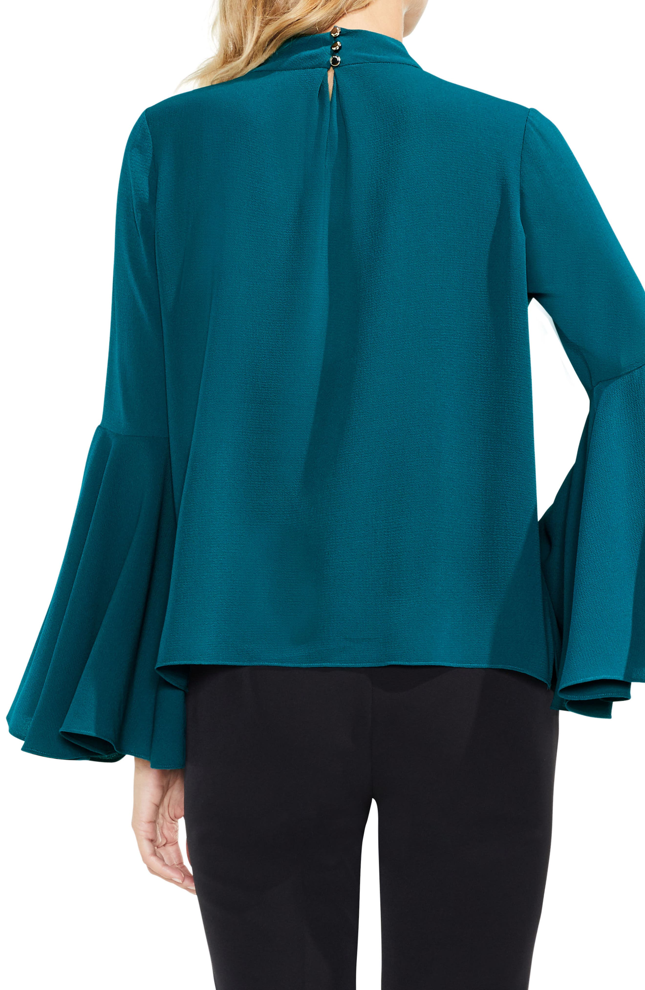 Bell Sleeve Choker Neck Blouse,                             Alternate thumbnail 2, color,                             Dark Peacock