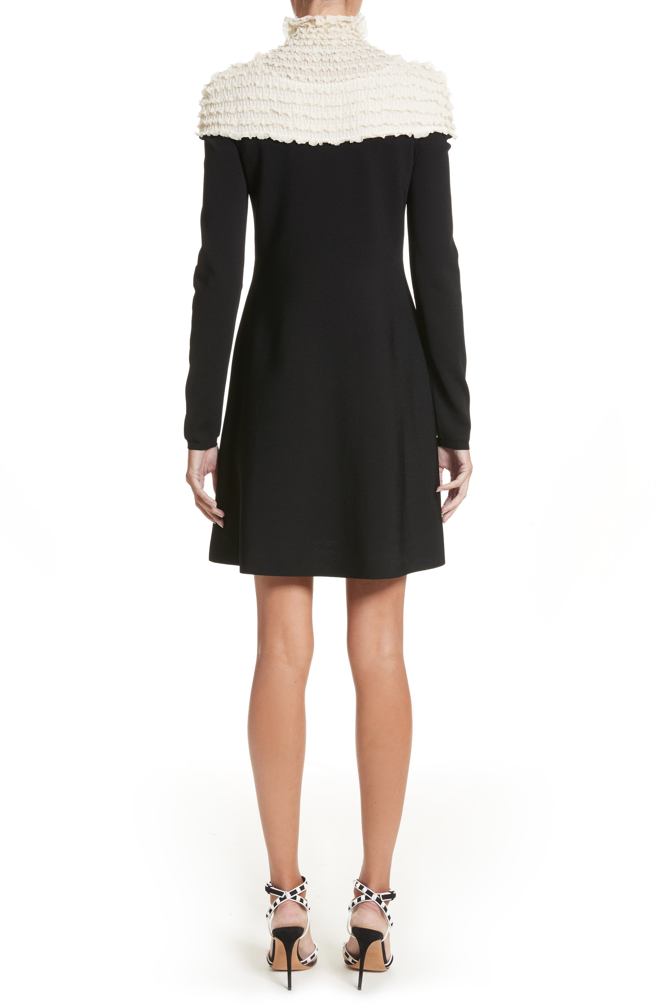 Ruffle Neckline Knit Dress,                             Alternate thumbnail 2, color,                             Black/ Ivory