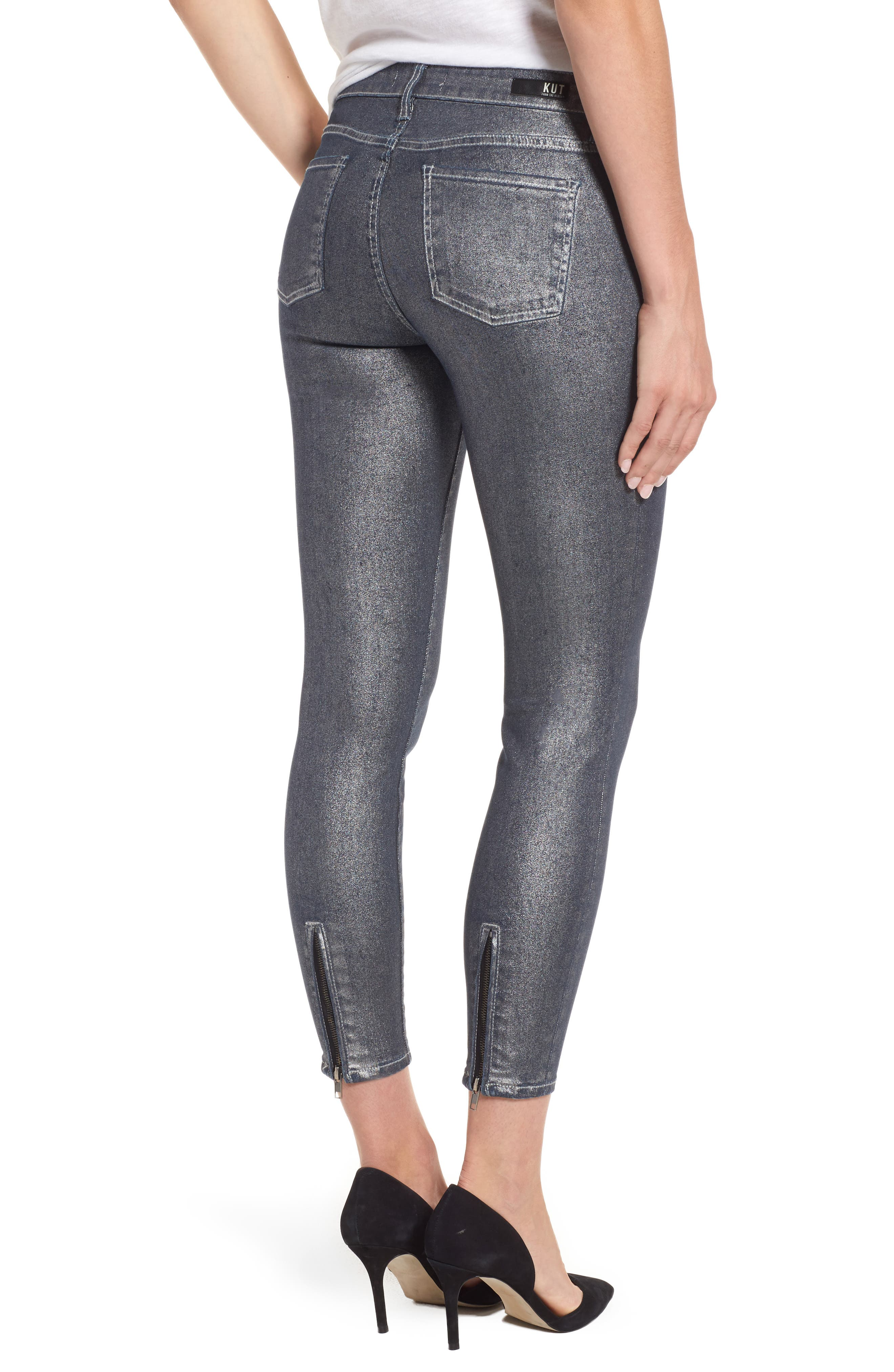 Alternate Image 2  - KUT from the Kloth Connie Ankle Zipper Jeans (Silver) (Regular & Petite)