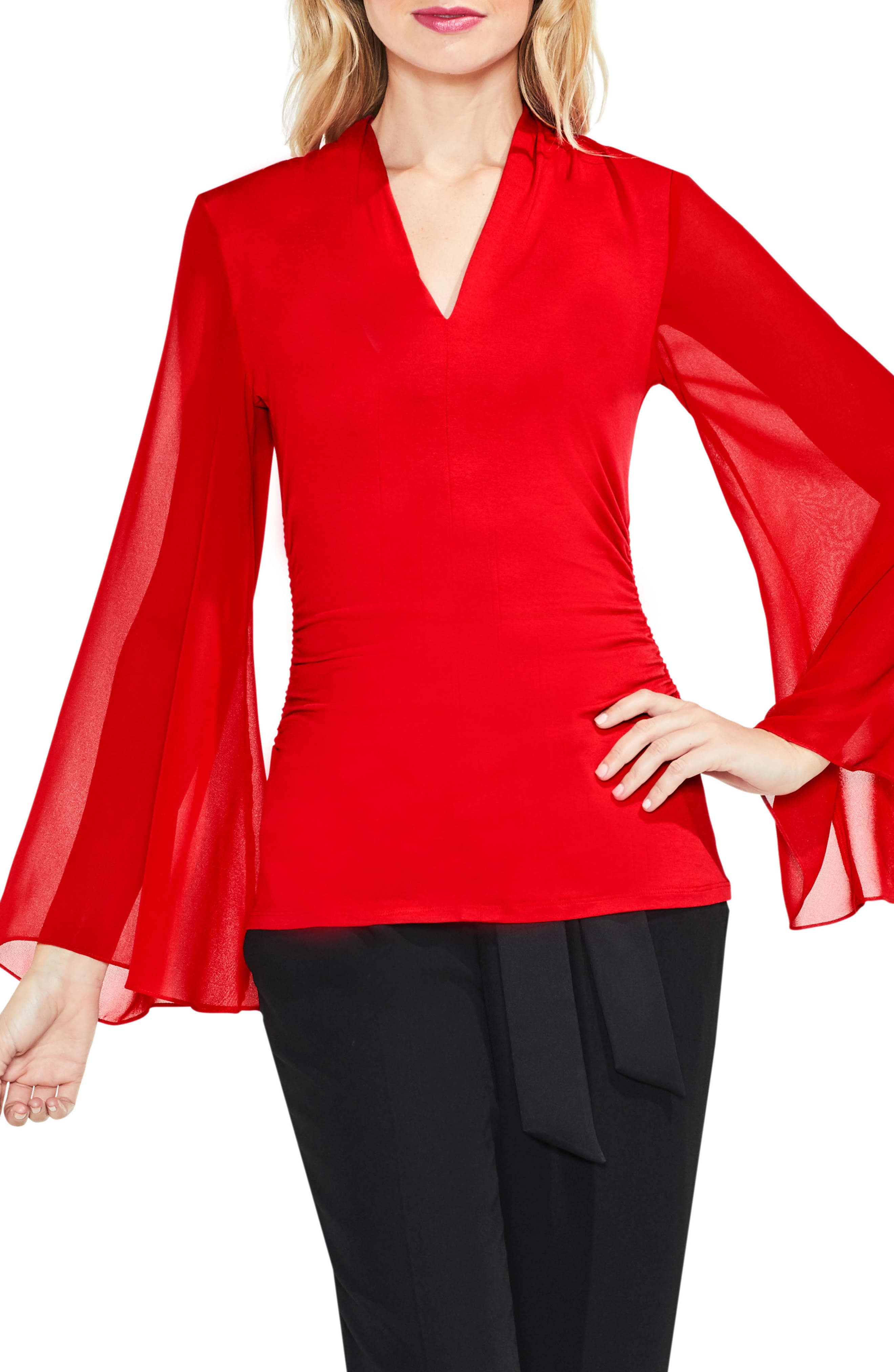 Main Image - Vince Camuto Bell Sleeve Side Ruched Chiffon Top