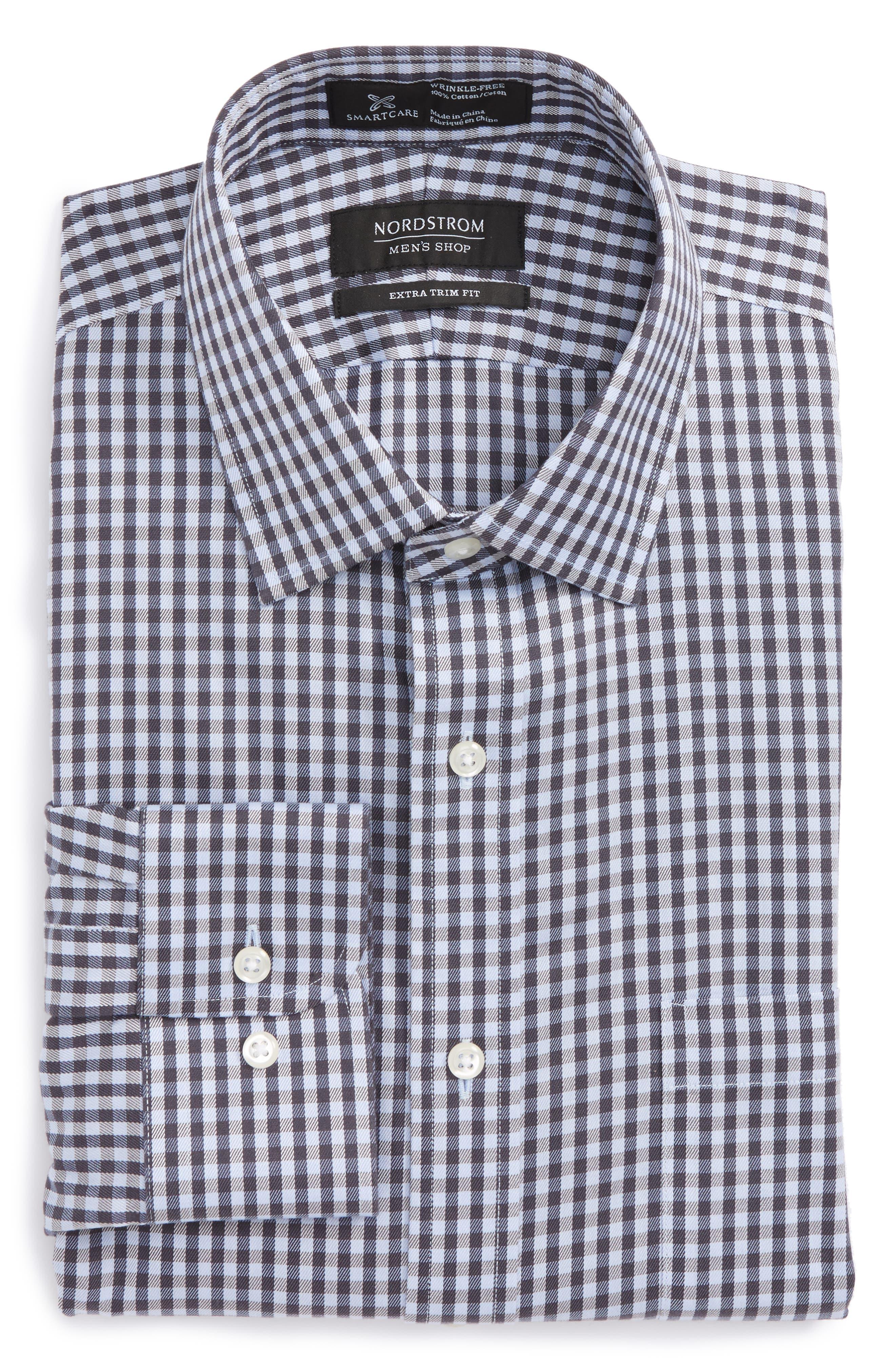 Smartcare<sup>™</sup> Extra Trim Fit Check Dress Shirt,                         Main,                         color, Grey Stonehenge