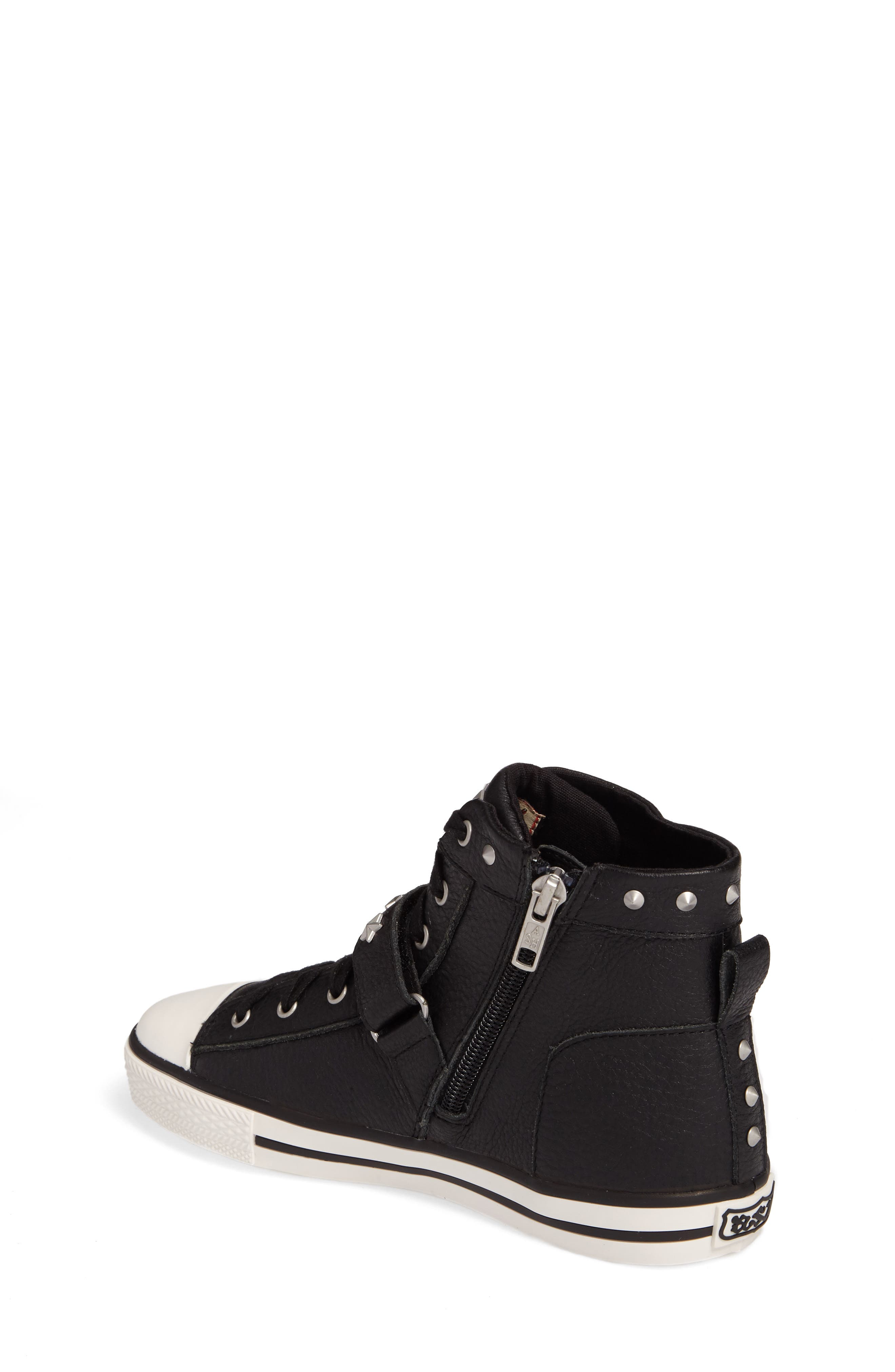 Vava Curve Studded High Top Sneaker,                             Alternate thumbnail 2, color,                             Black Leather