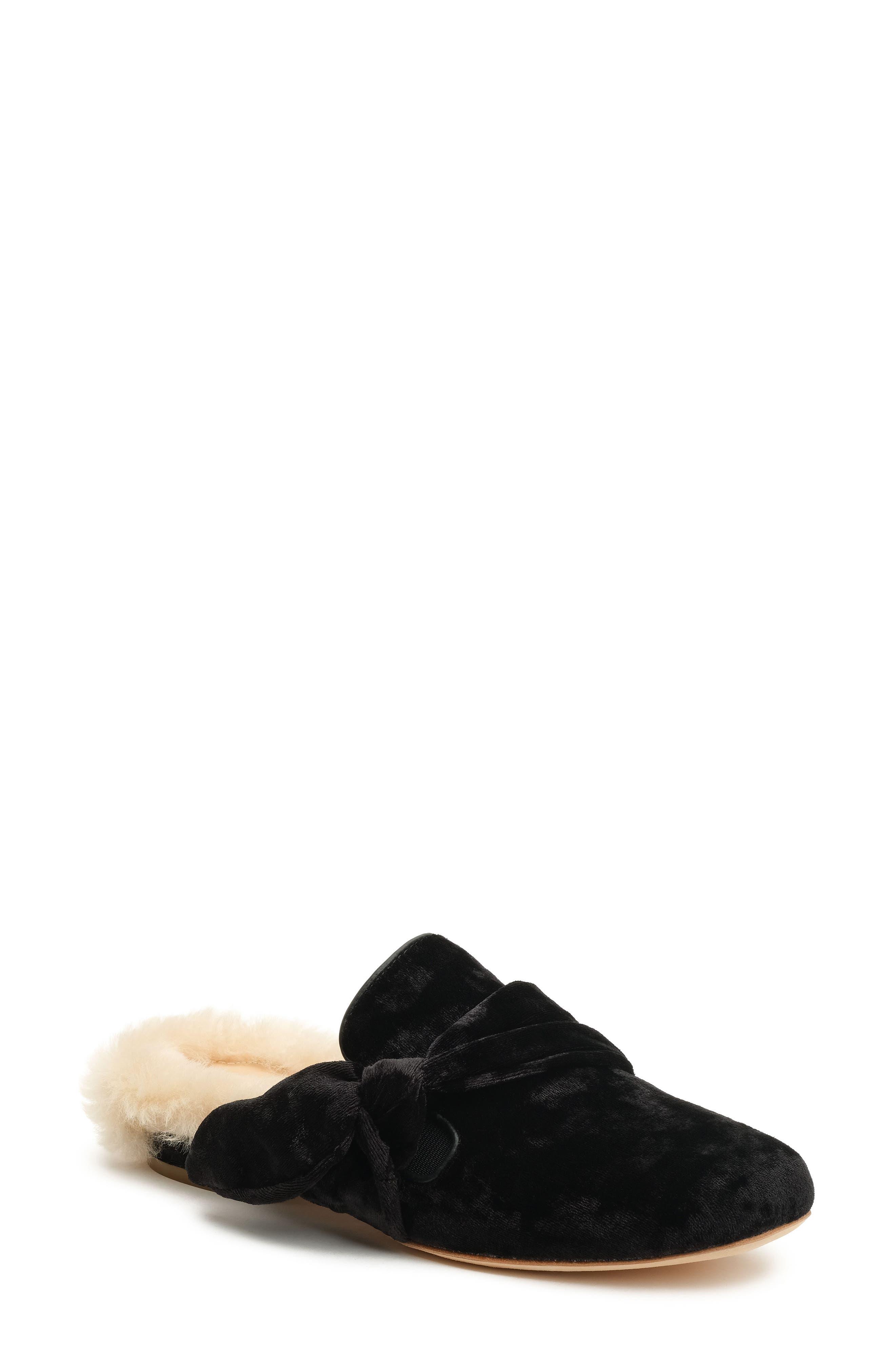 Main Image - Bill Blass Laverne Genuine Shearling Lined Velvet Slide (Women)