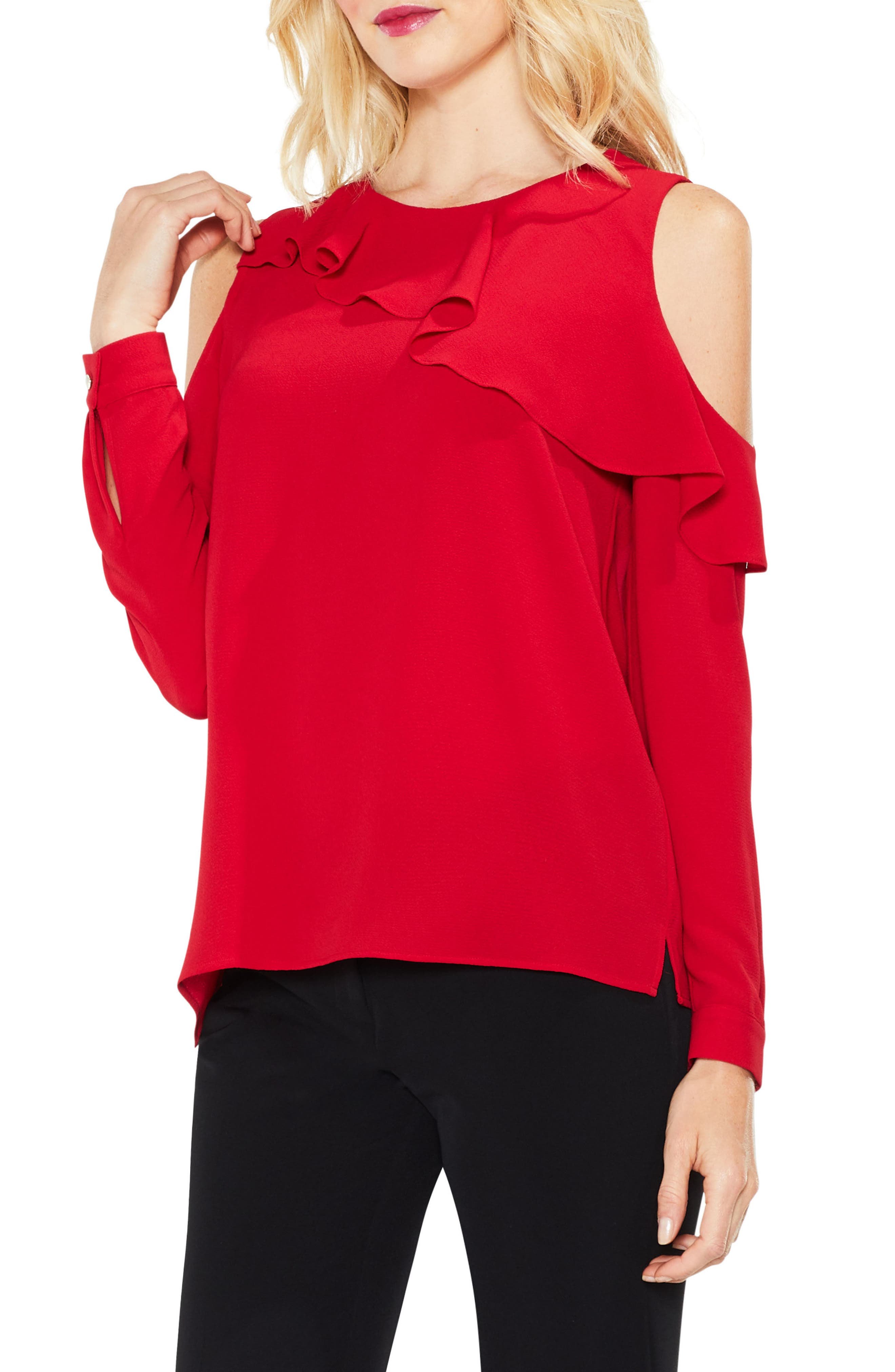 Alternate Image 1 Selected - Vince Camuto Ruffle Cold Shoulder Top (Regular & Petite)