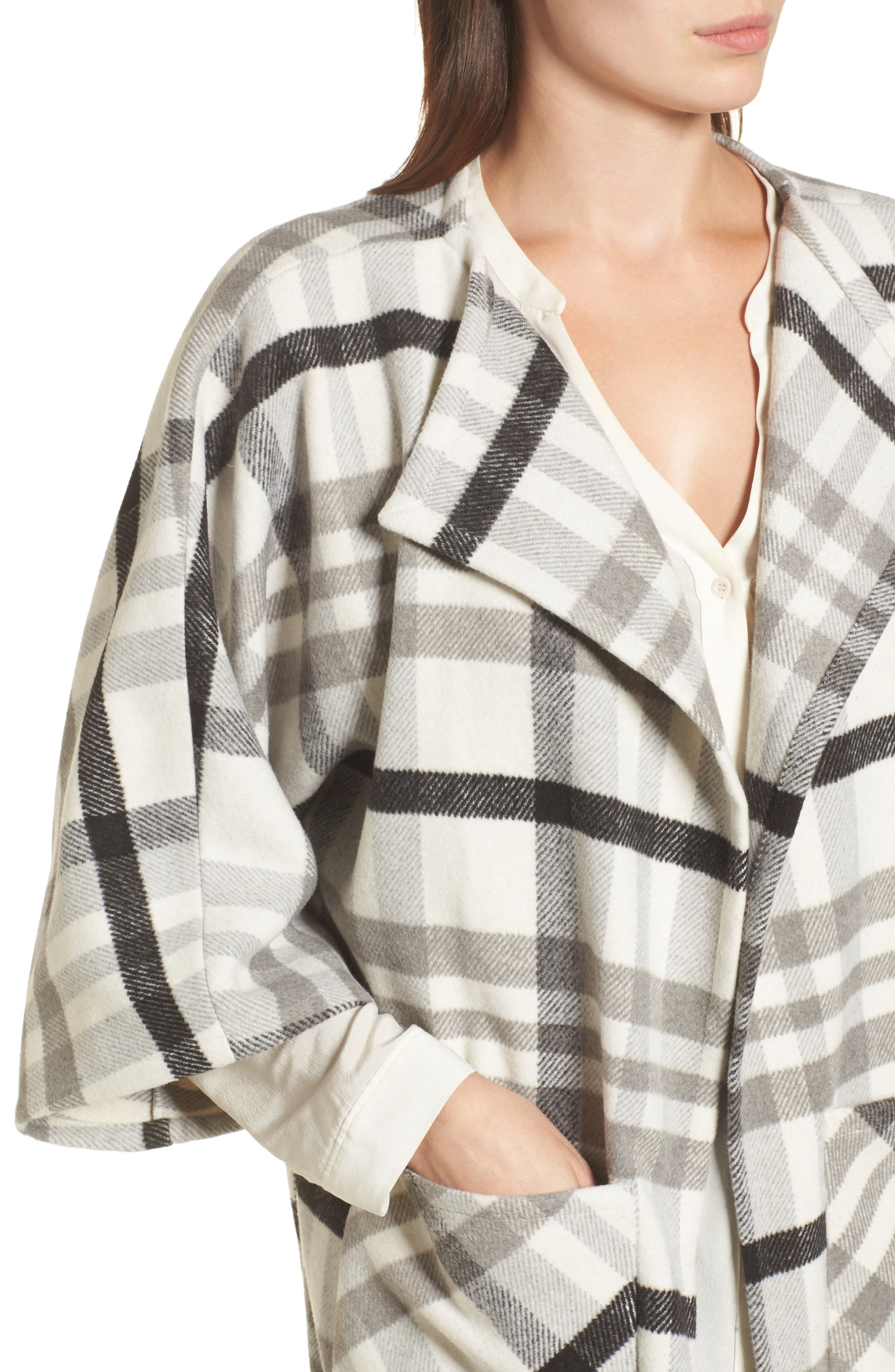 Woven Plaid Wrap,                             Alternate thumbnail 4, color,                             Ivory Combo