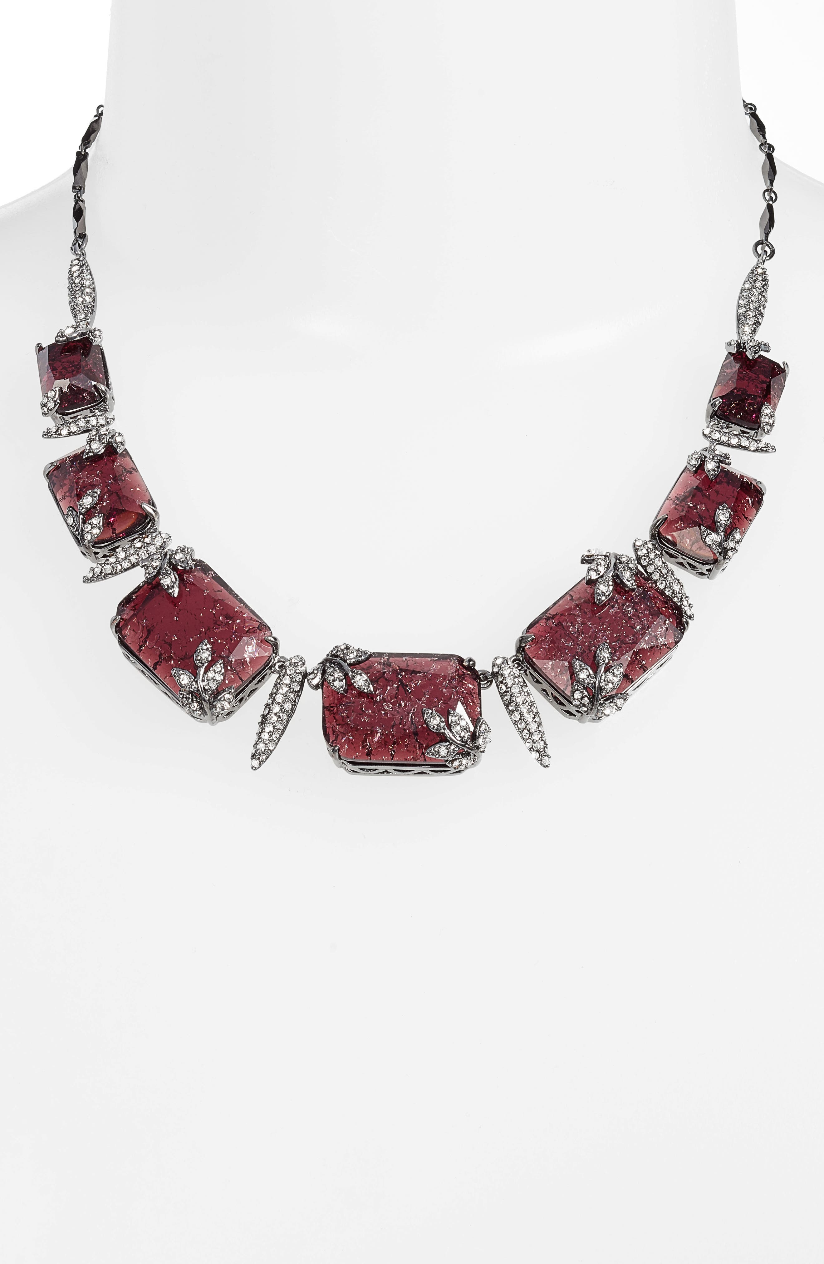 Frontal Necklace,                             Alternate thumbnail 2, color,                             Burgundy