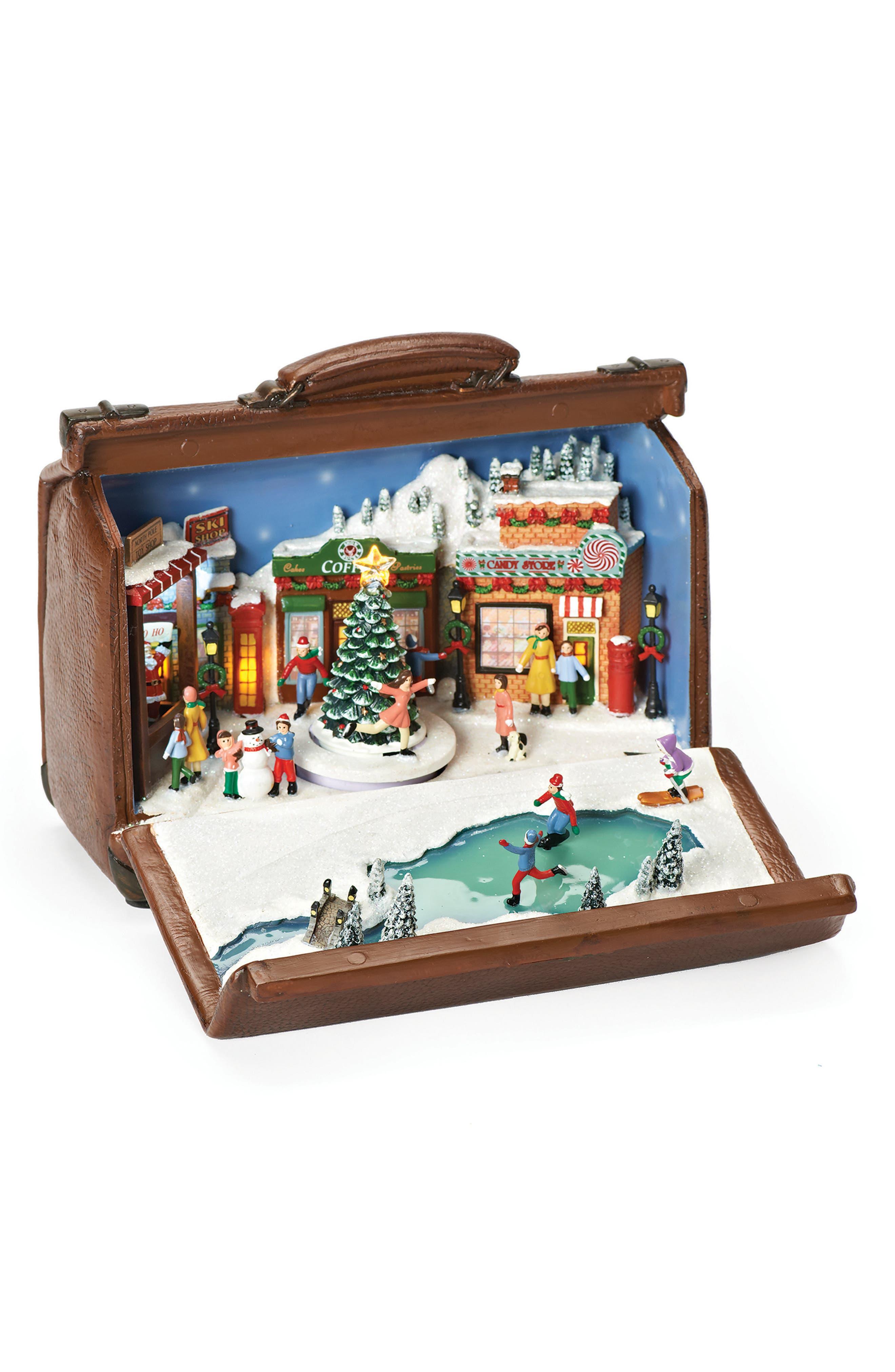 Ice Skating Diorama Music Box,                         Main,                         color, Brown