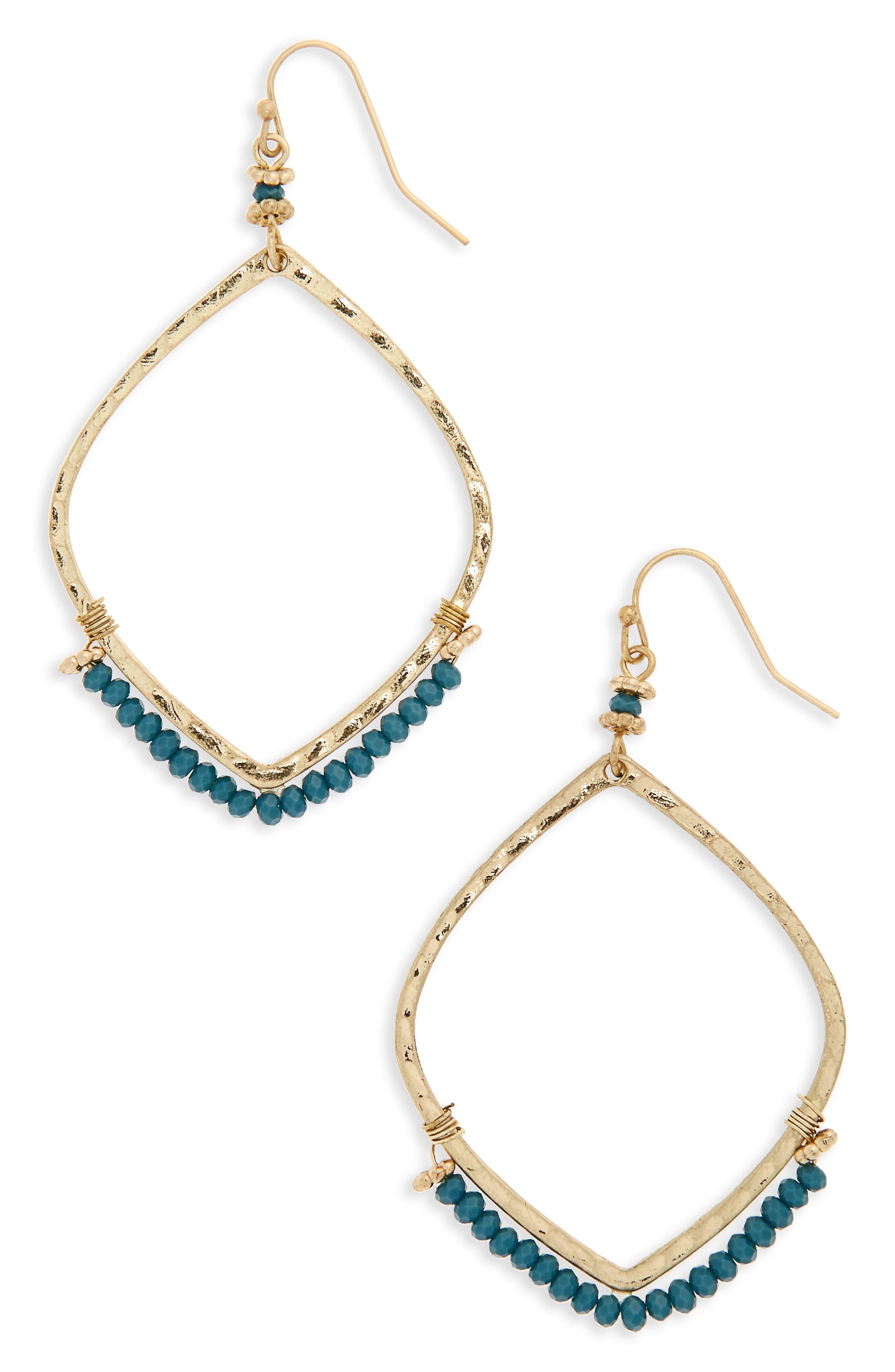 Canvas Jewelry Beaded Marquis Drop Earrings