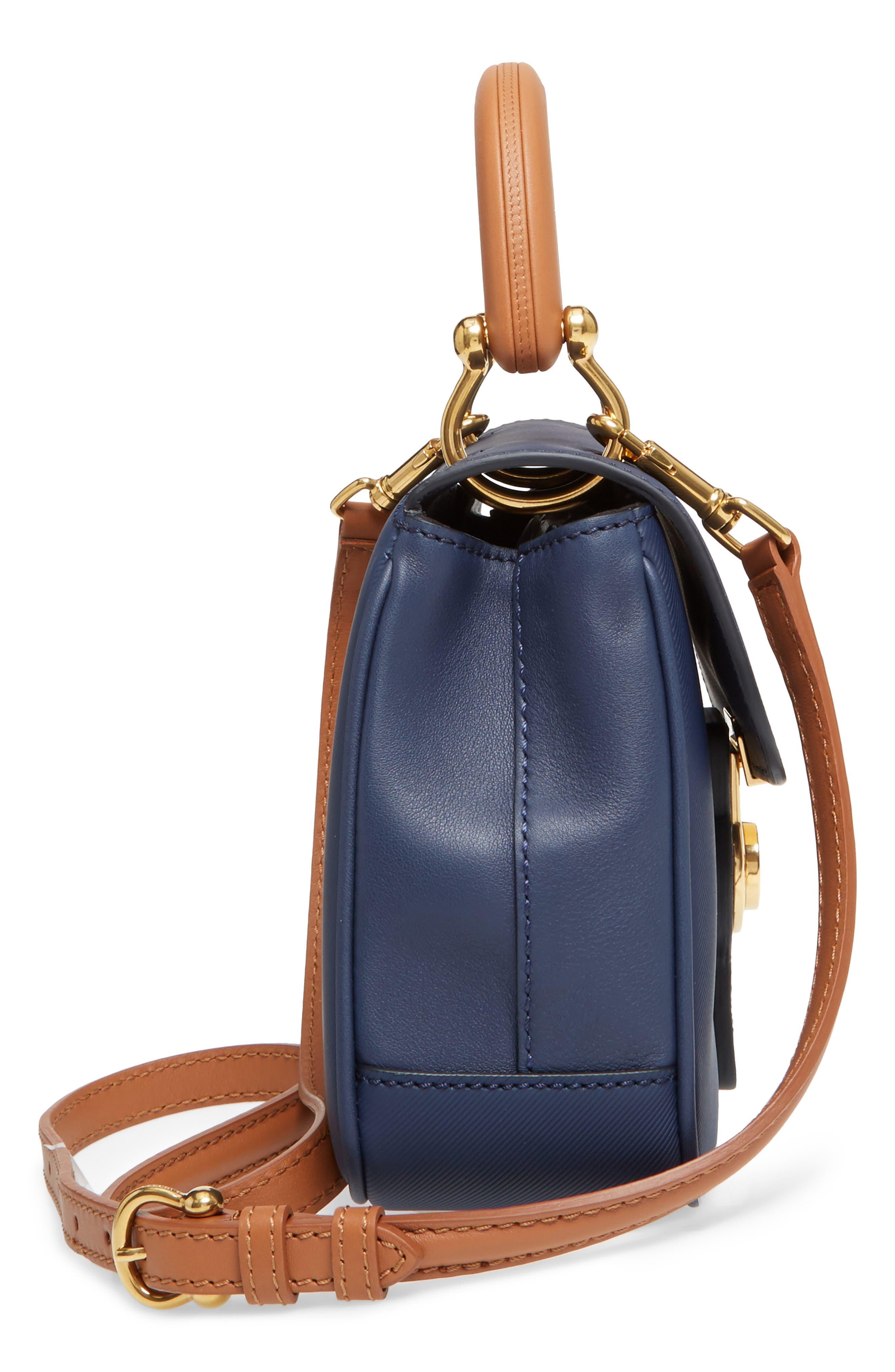 Medium DK88 Leather Satchel,                             Alternate thumbnail 3, color,                             Ink Blue