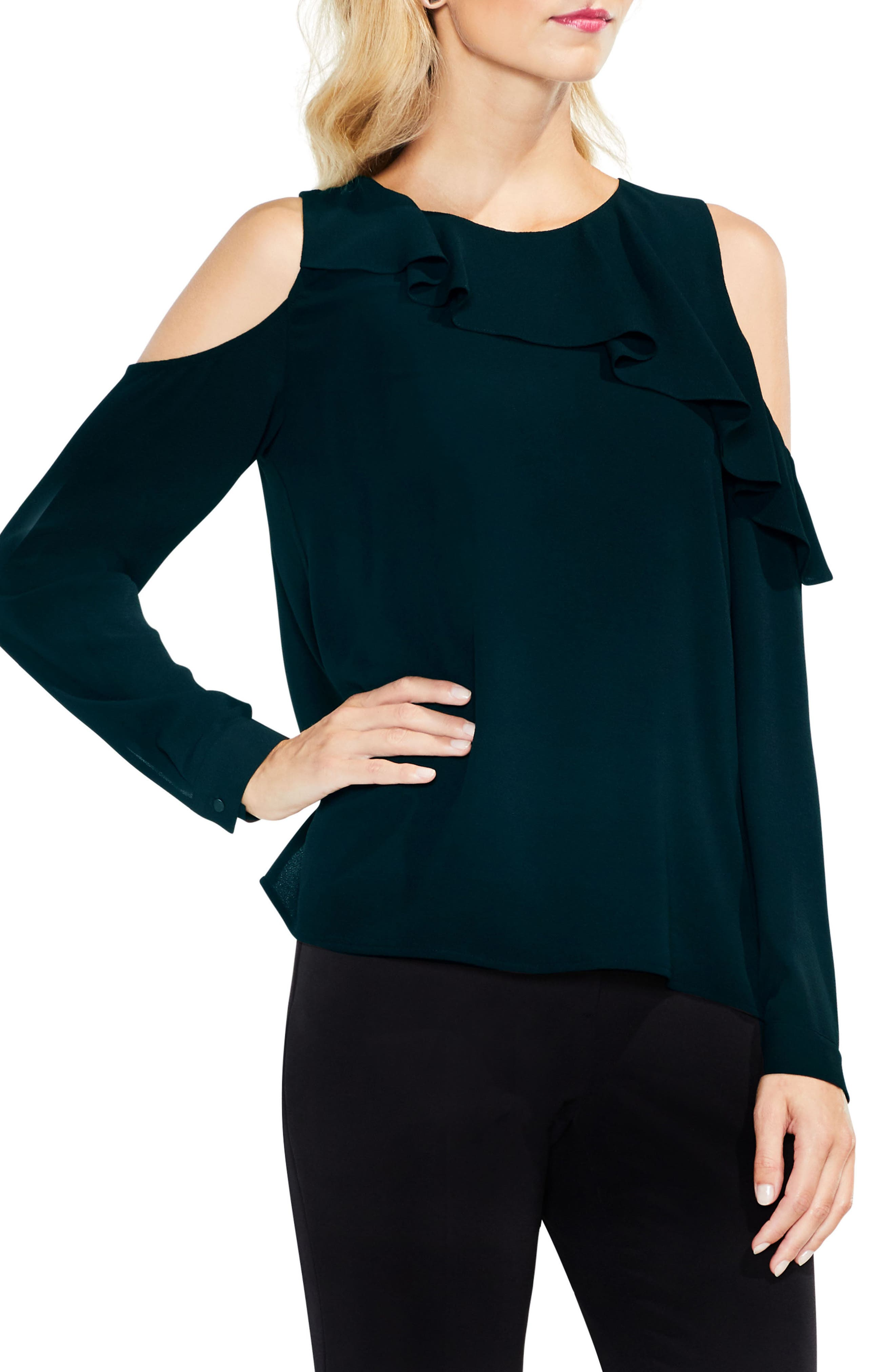 Vince Camuto Ruffle Cold Shoulder Top (Regular & Petite)