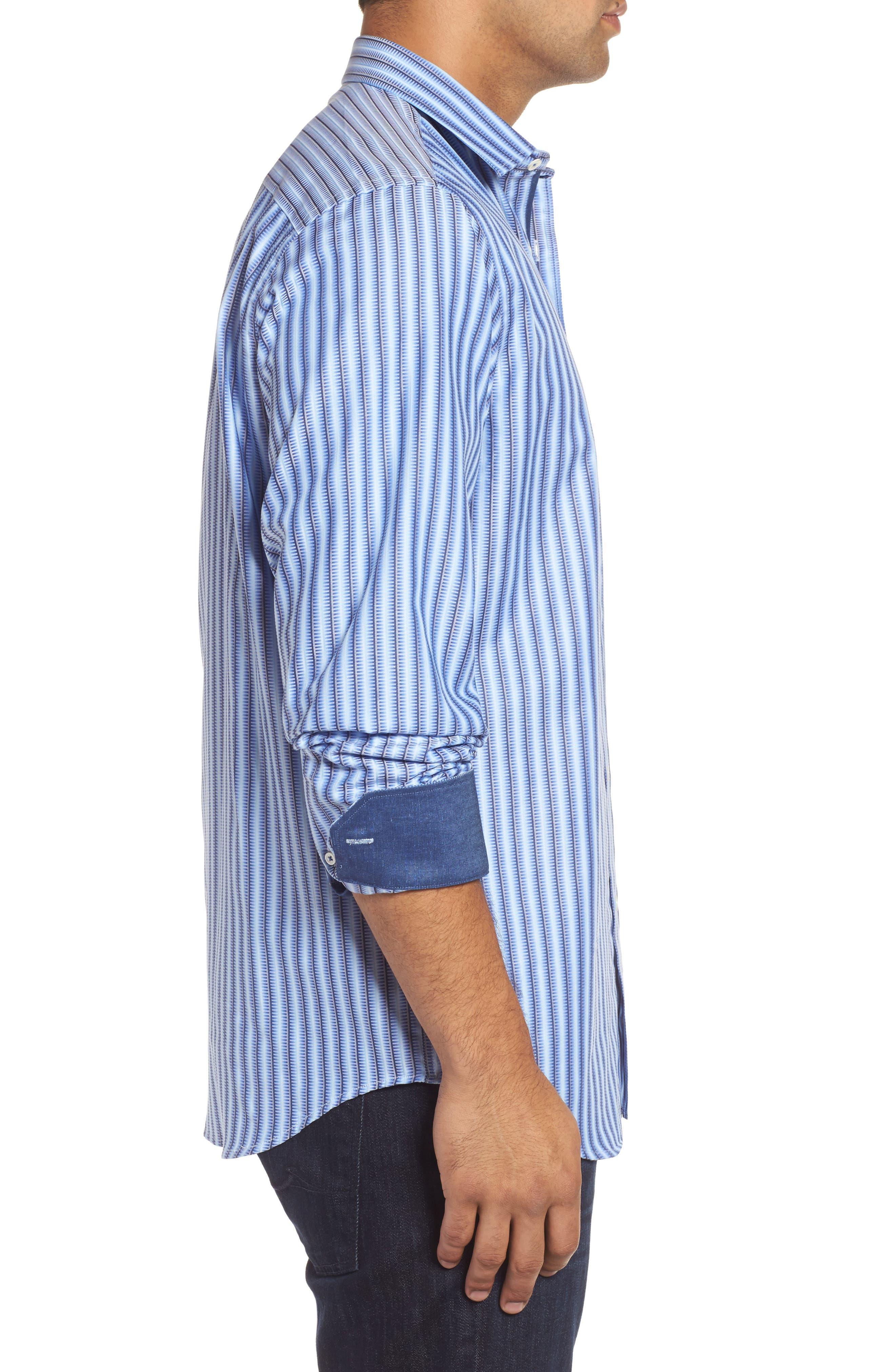 Alternate Image 3  - Bugatchi Classic Fit Striped Sport Shirt