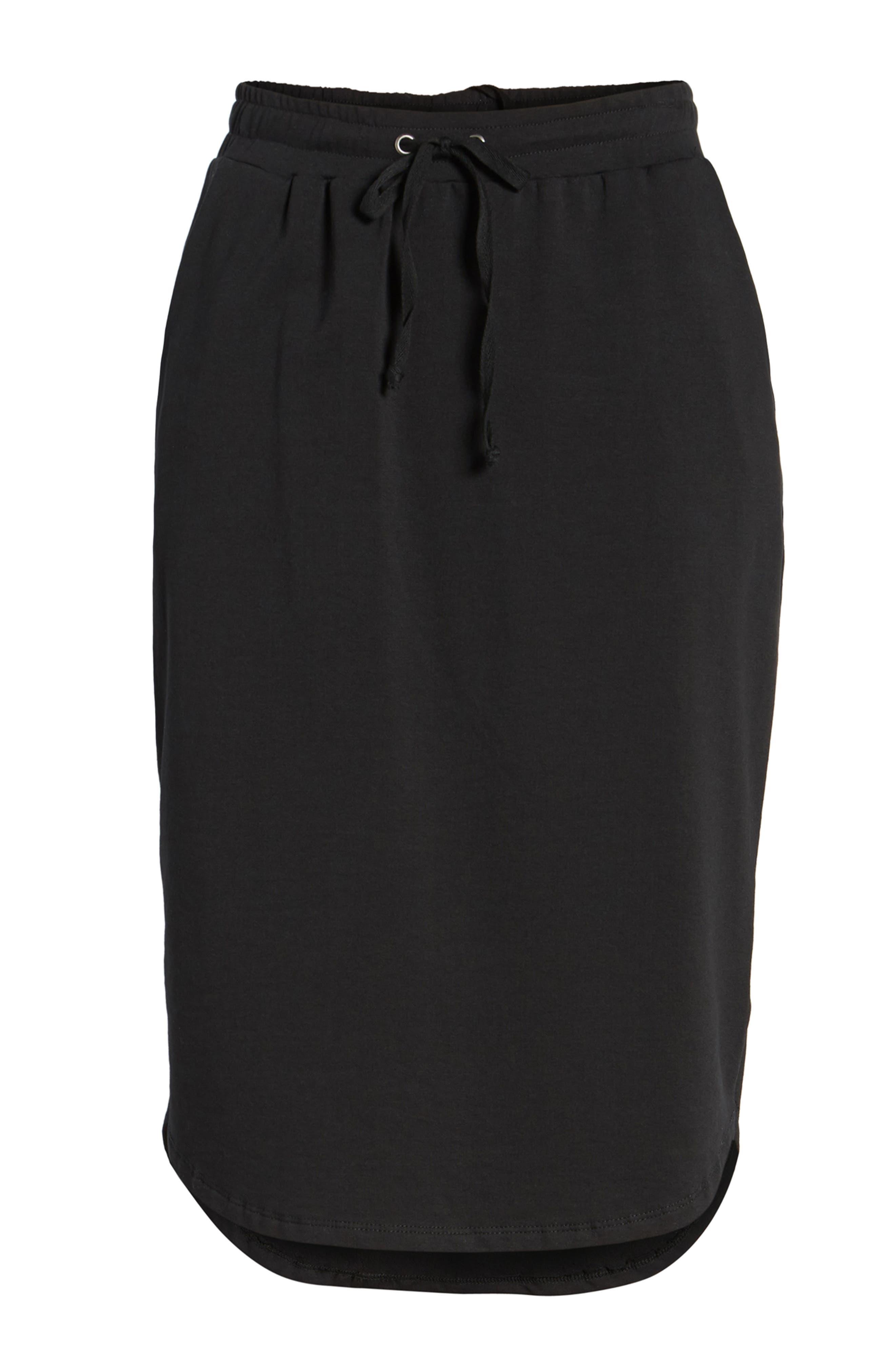 Jogger Stretch Midi Skirt,                             Alternate thumbnail 6, color,                             Black