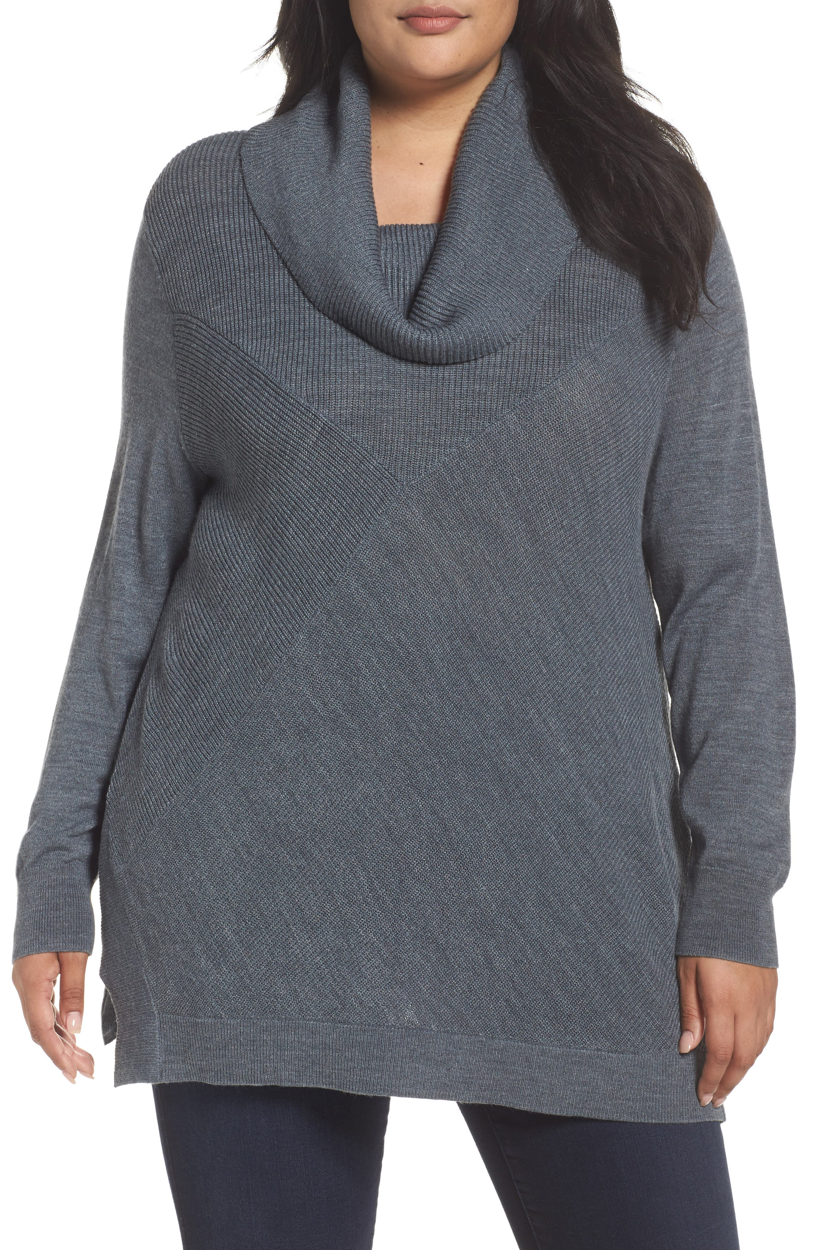 Cowl Neck Ribbed Trim Pullover,                             Main thumbnail 1, color,                             Grey Dark Heather