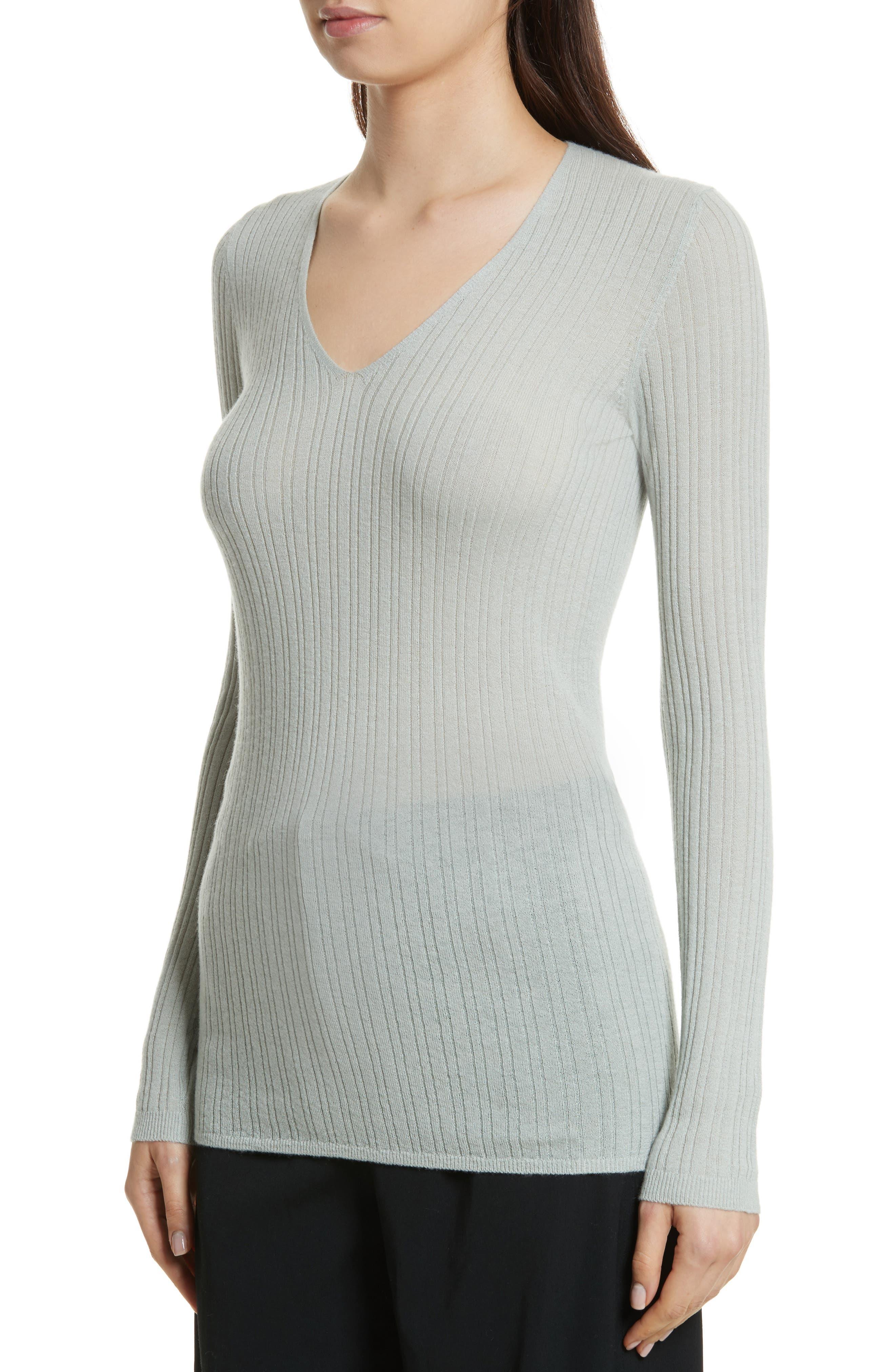 Alternate Image 4  - Vince Ribbed Cashmere V-Neck Sweater