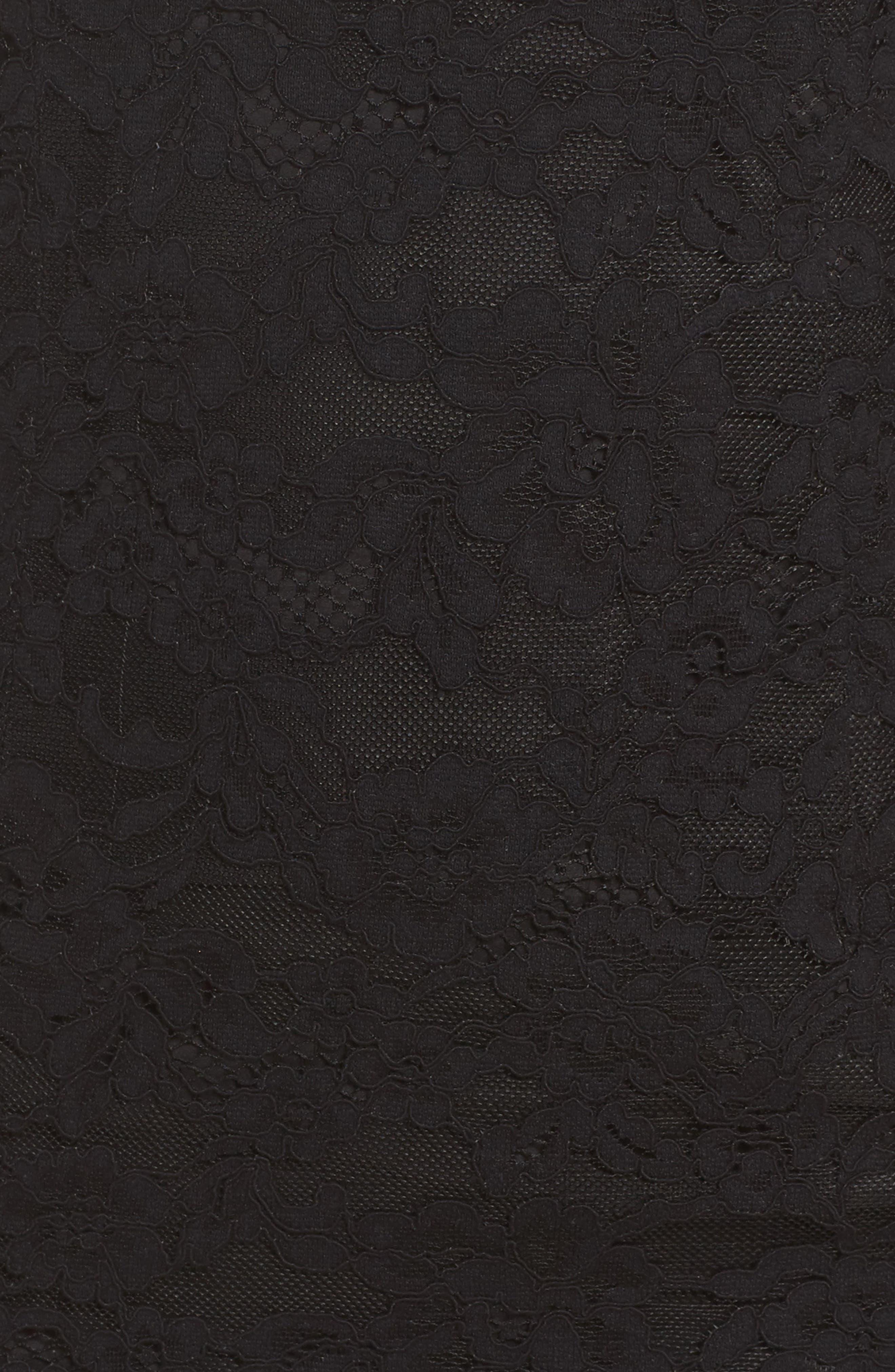 Fiorella One-Shoulder Lace Body-Con Dress,                             Alternate thumbnail 5, color,                             Black