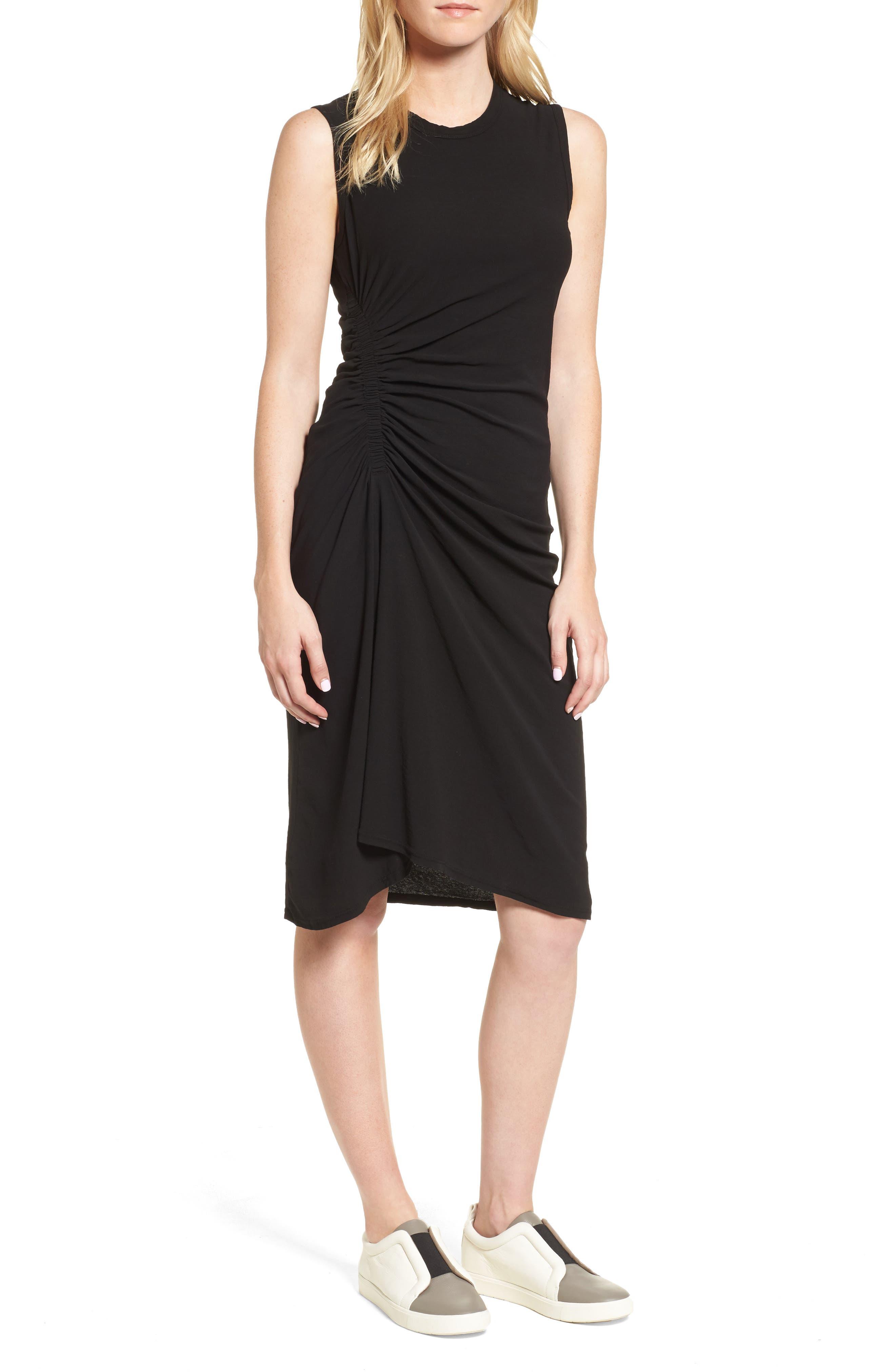 Spiral Shirred Sheath Dress,                             Main thumbnail 1, color,                             Black