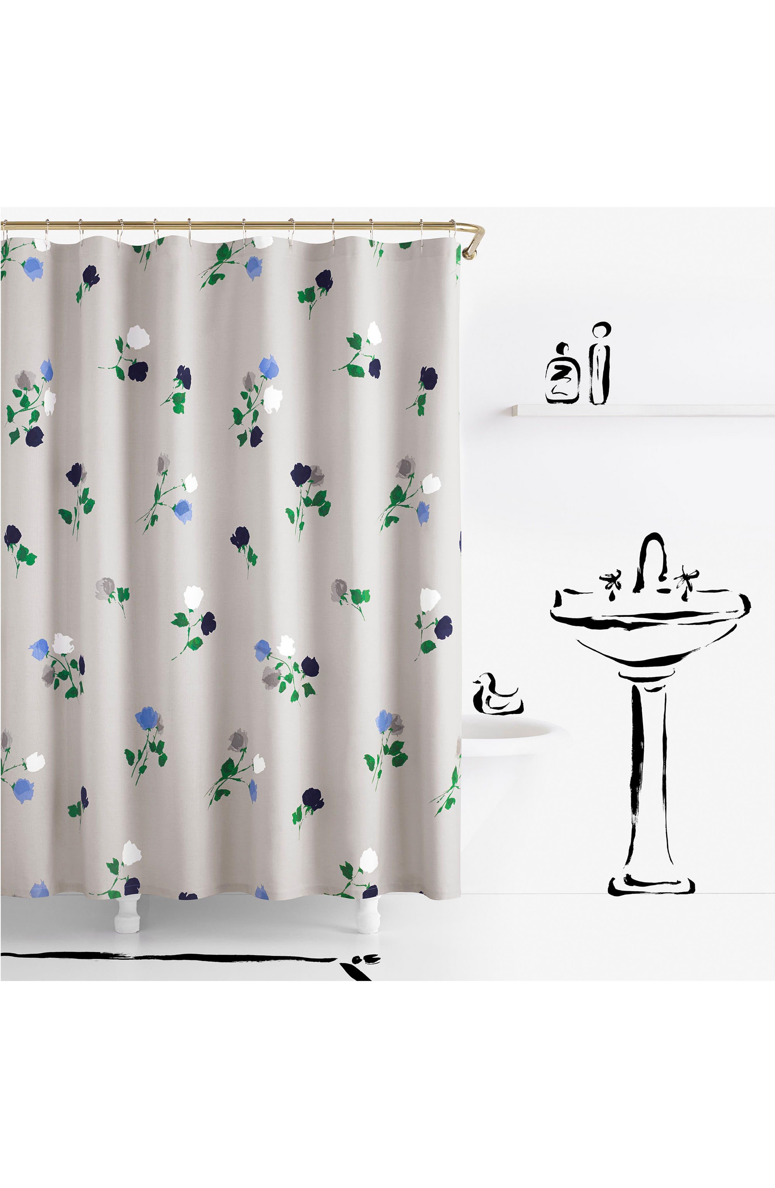 willow court shower curtain,                         Main,                         color, Platinum