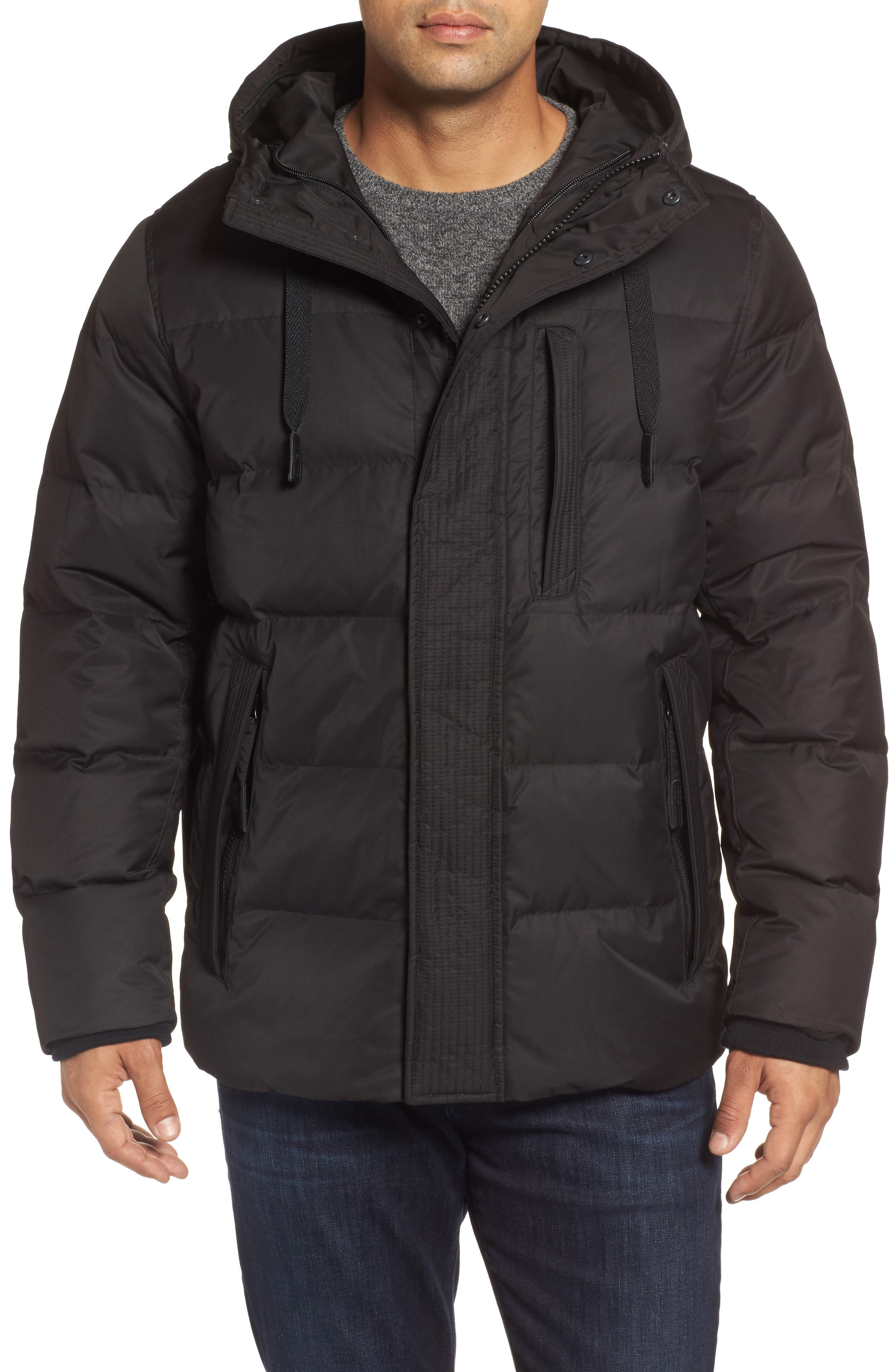 Groton Slim Down Jacket with Faux Shearling Lining,                             Alternate thumbnail 4, color,                             Black