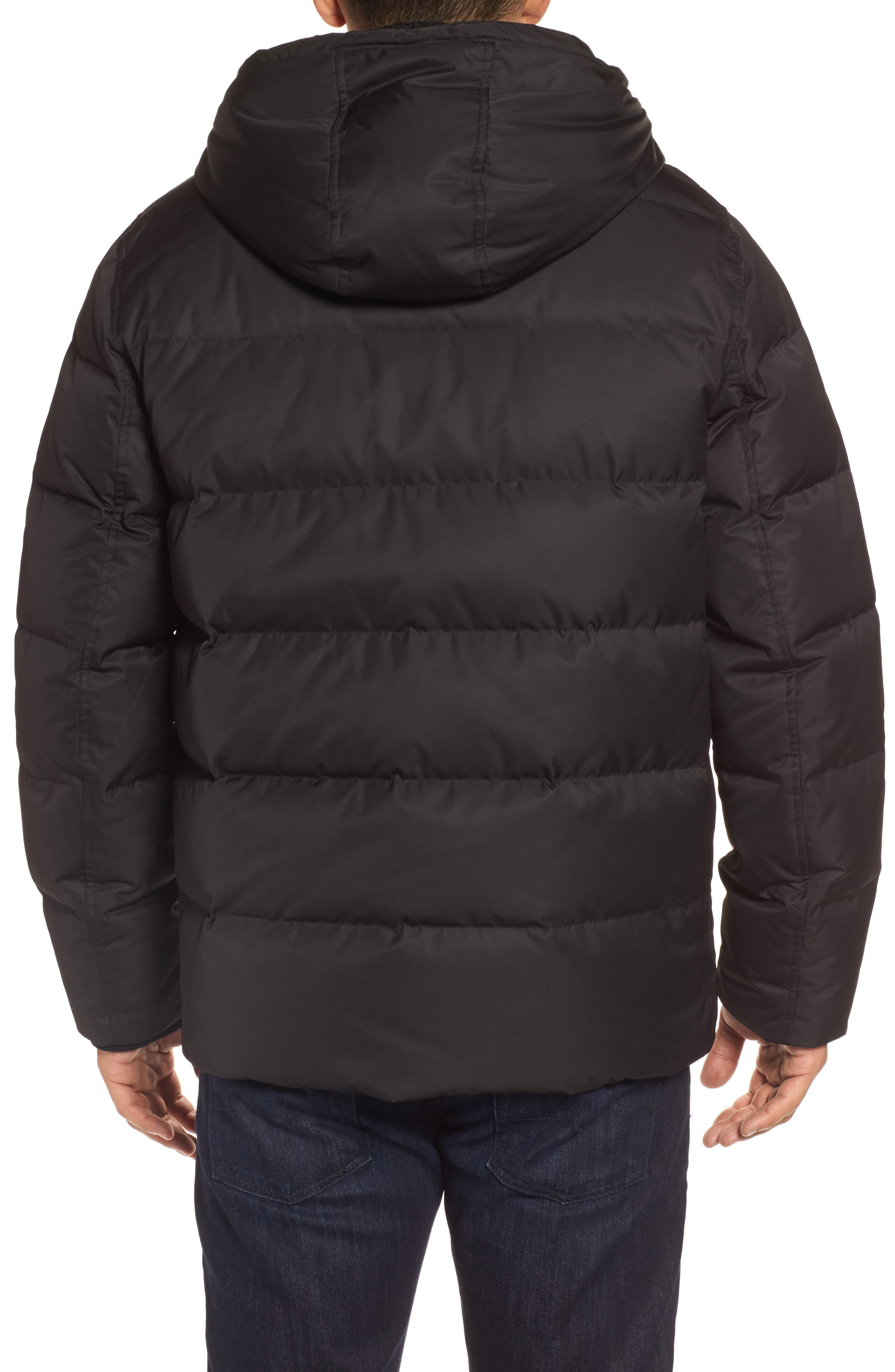 Groton Slim Down Jacket with Faux Shearling Lining,                             Alternate thumbnail 2, color,                             Black