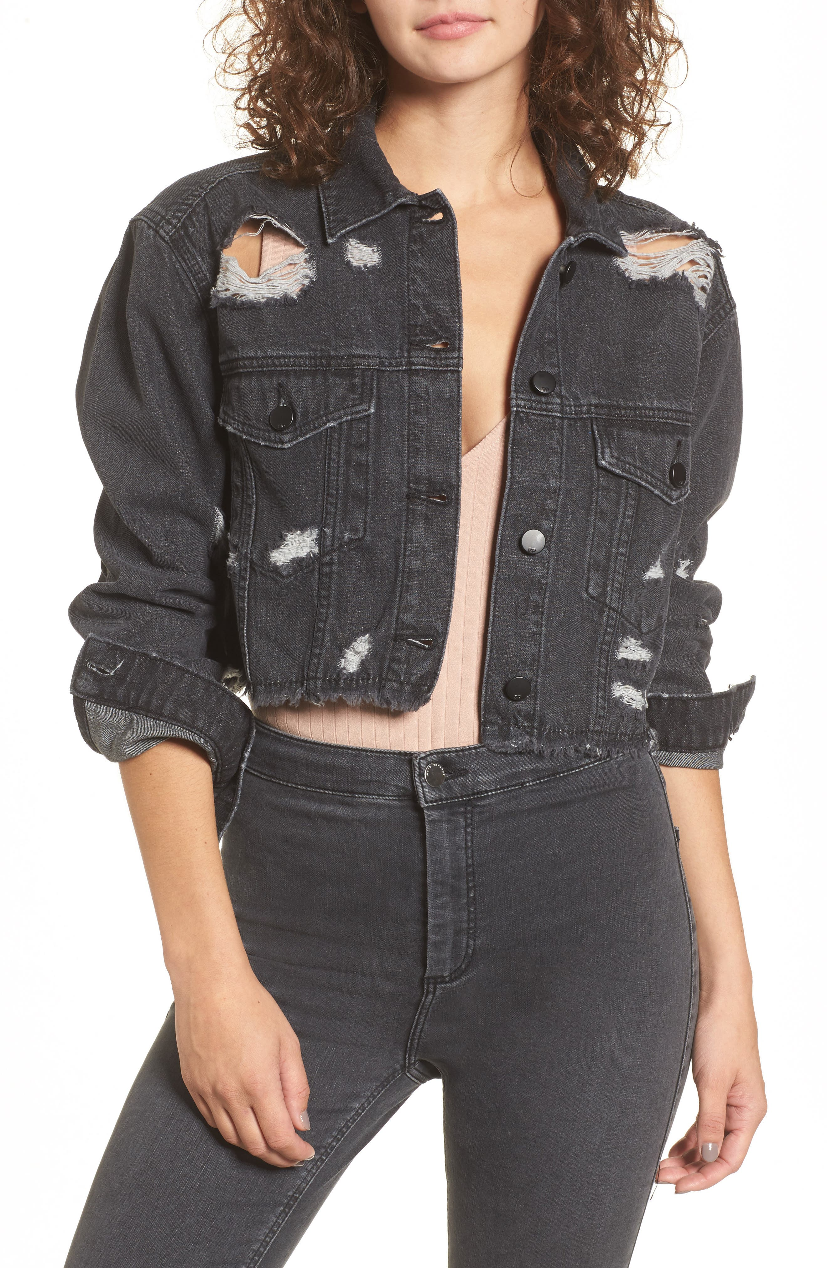 Shredded Crop Denim Jacket,                         Main,                         color, Washed Black