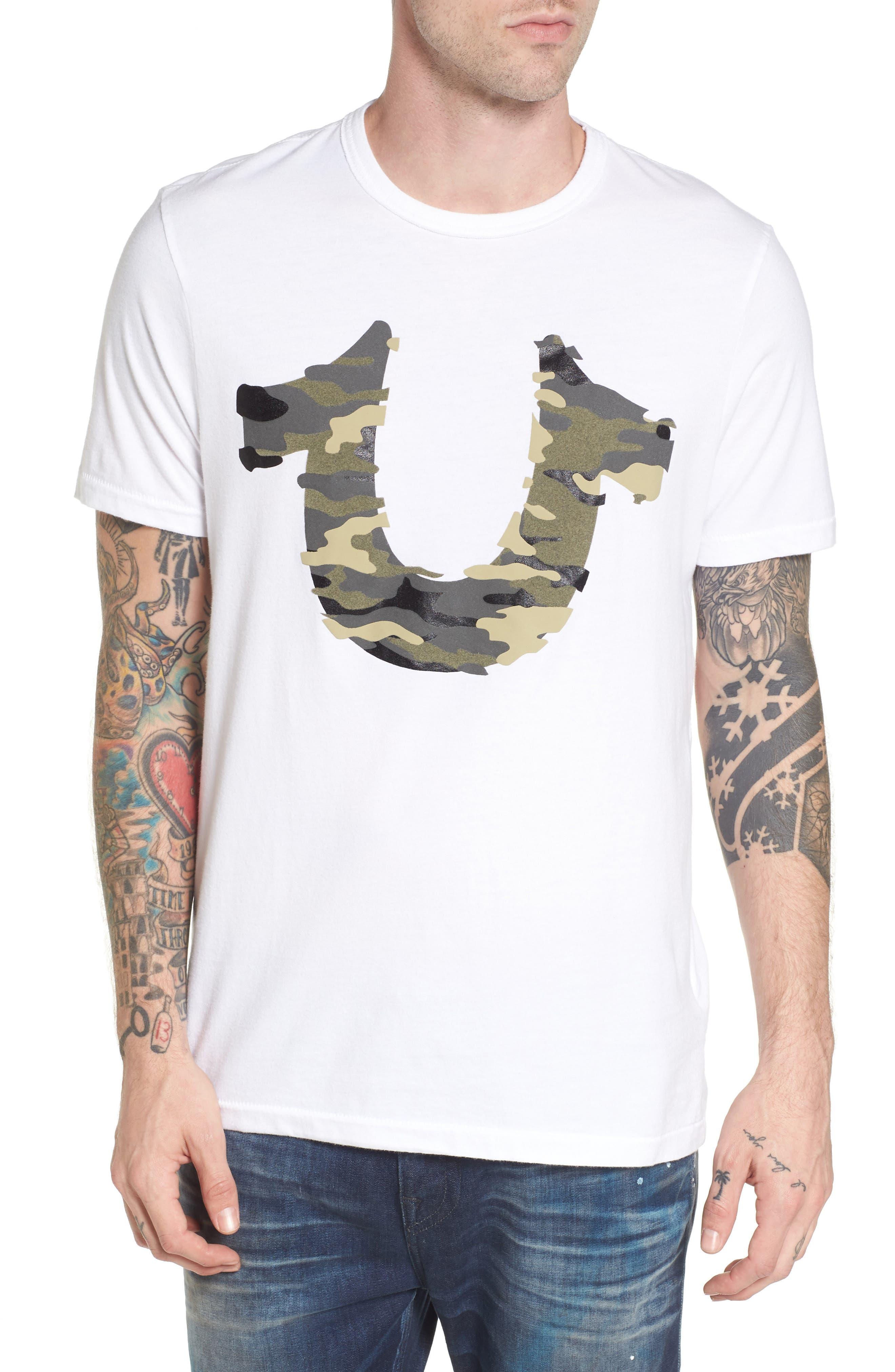 3D Camo Graphic T-Shirt,                         Main,                         color, White
