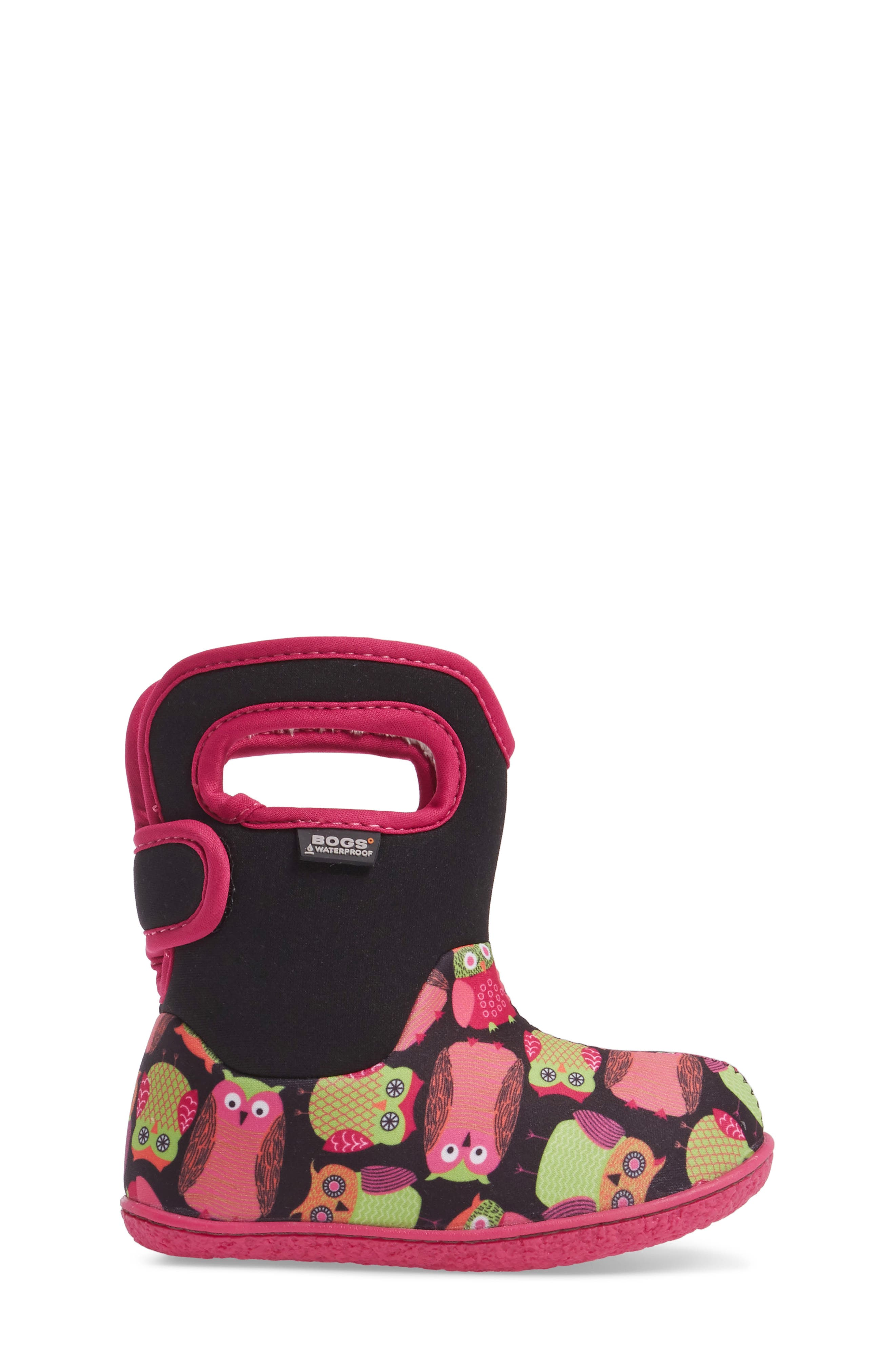 Baby Bogs Classic Owls Insulated Waterproof Boot,                             Alternate thumbnail 3, color,                             Black Multi