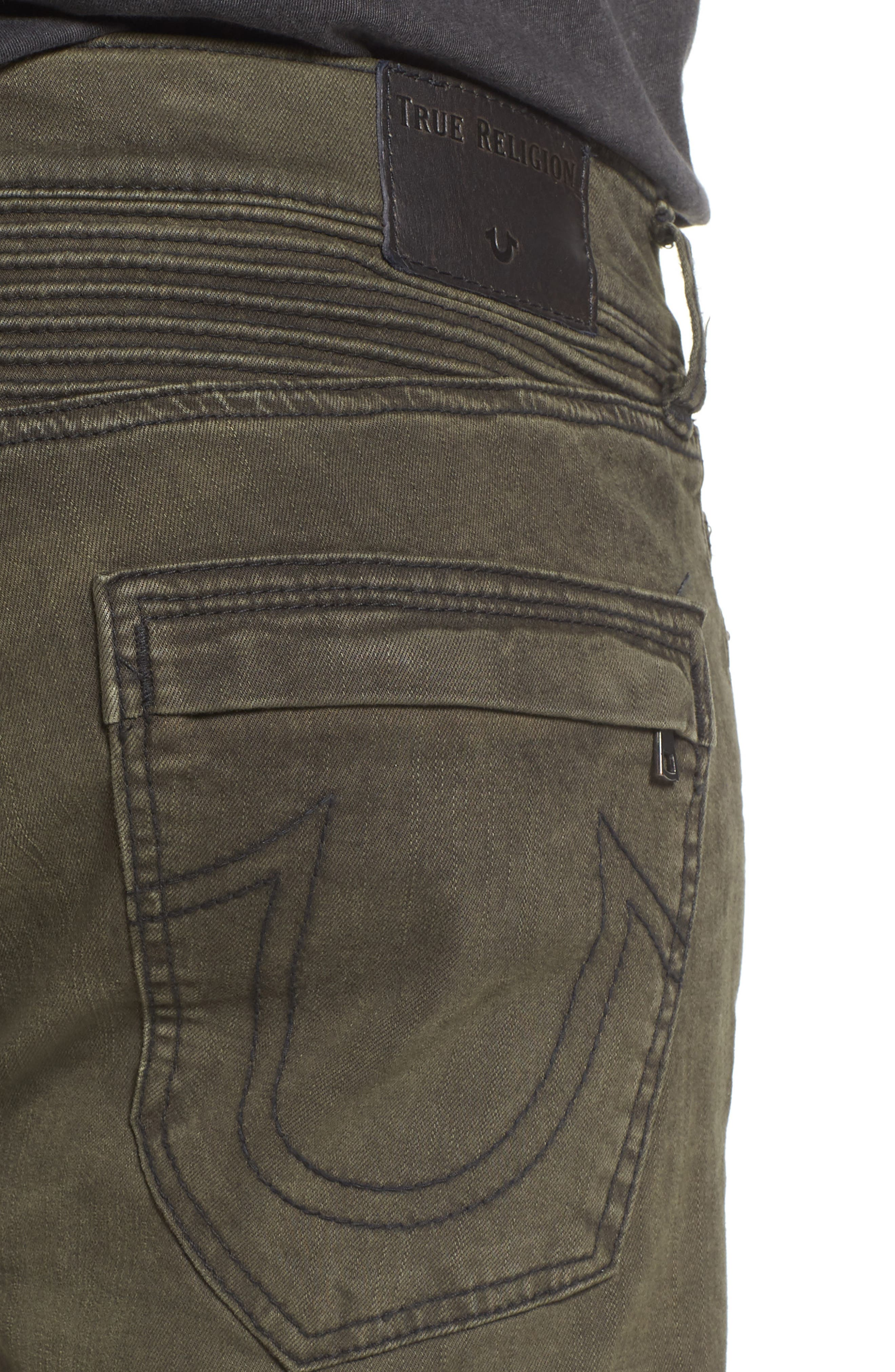 Alternate Image 4  - True Religion Brand Jeans Rocco Skinny Fit Jeans (Olive Coated)