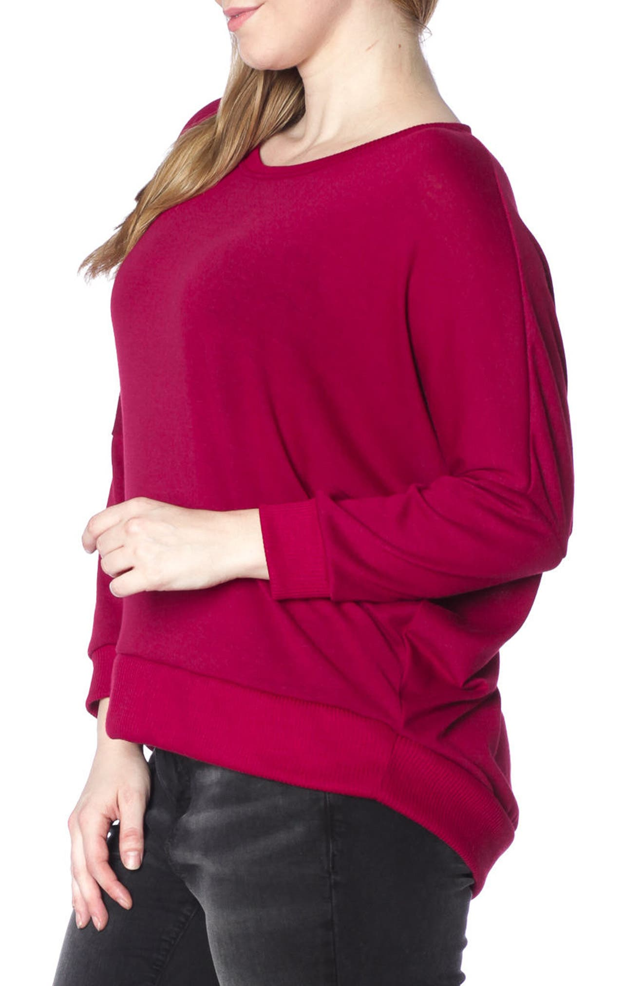 Dolman Sleeve Ribbed Pullover,                             Alternate thumbnail 3, color,                             Bordeaux
