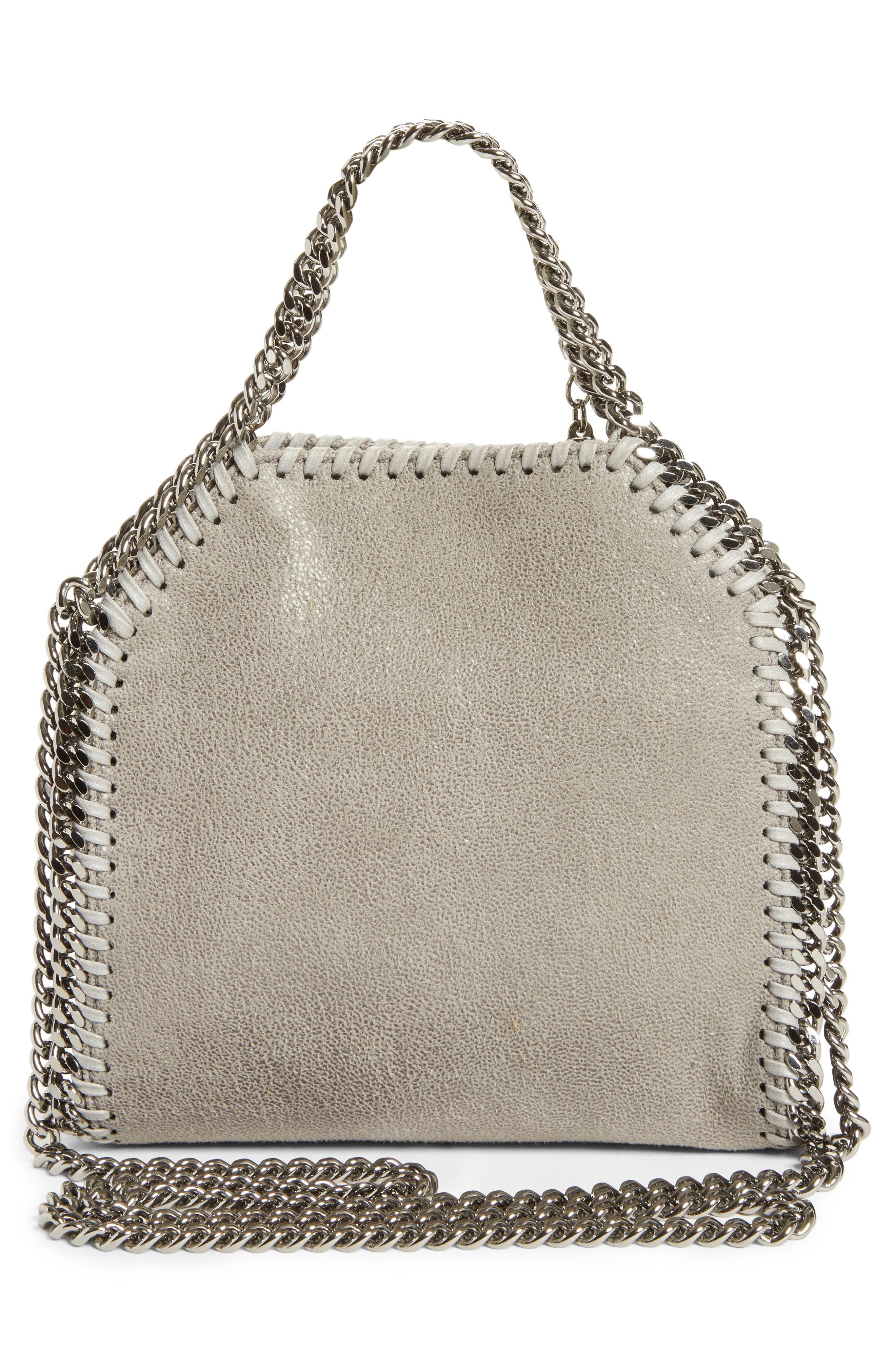 'Tiny Falabella' Faux Leather Crossbody Bag,                             Alternate thumbnail 3, color,                             Light Grey