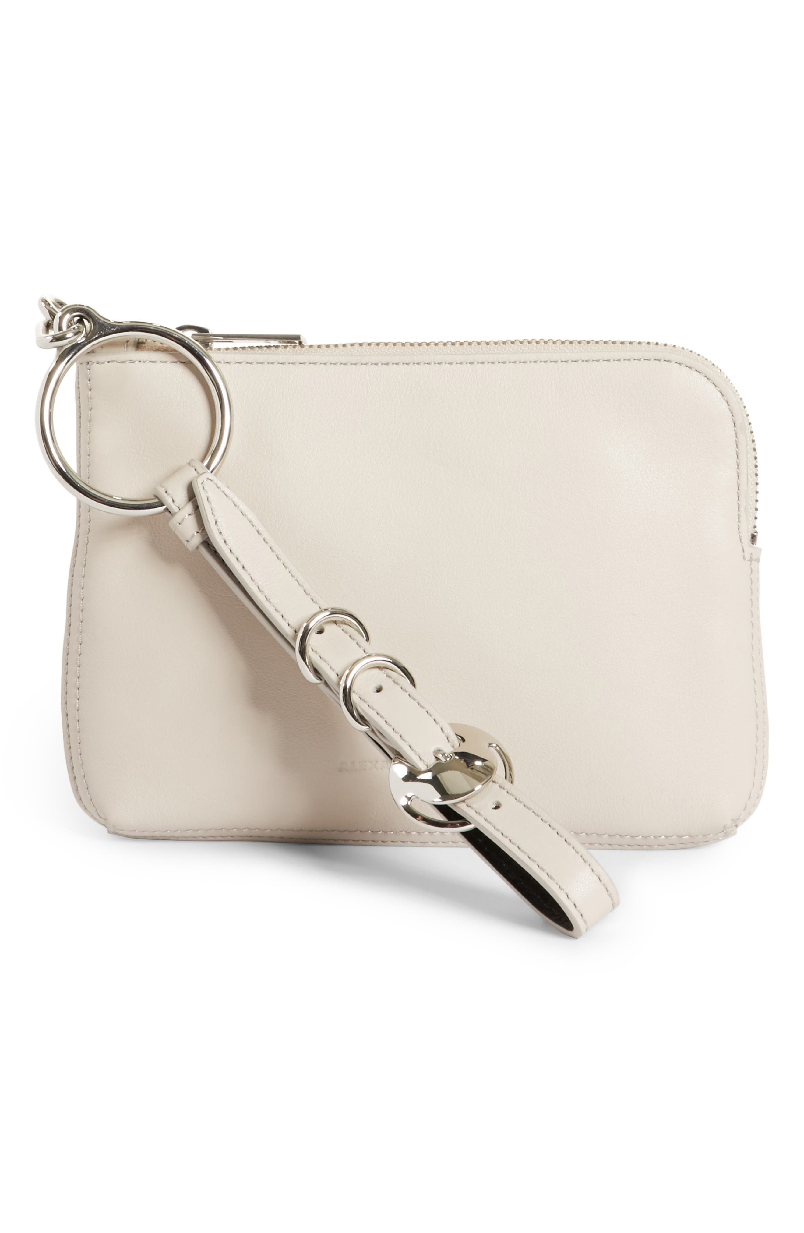Small Ace Leather Wristlet,                         Main,                         color, Smoke