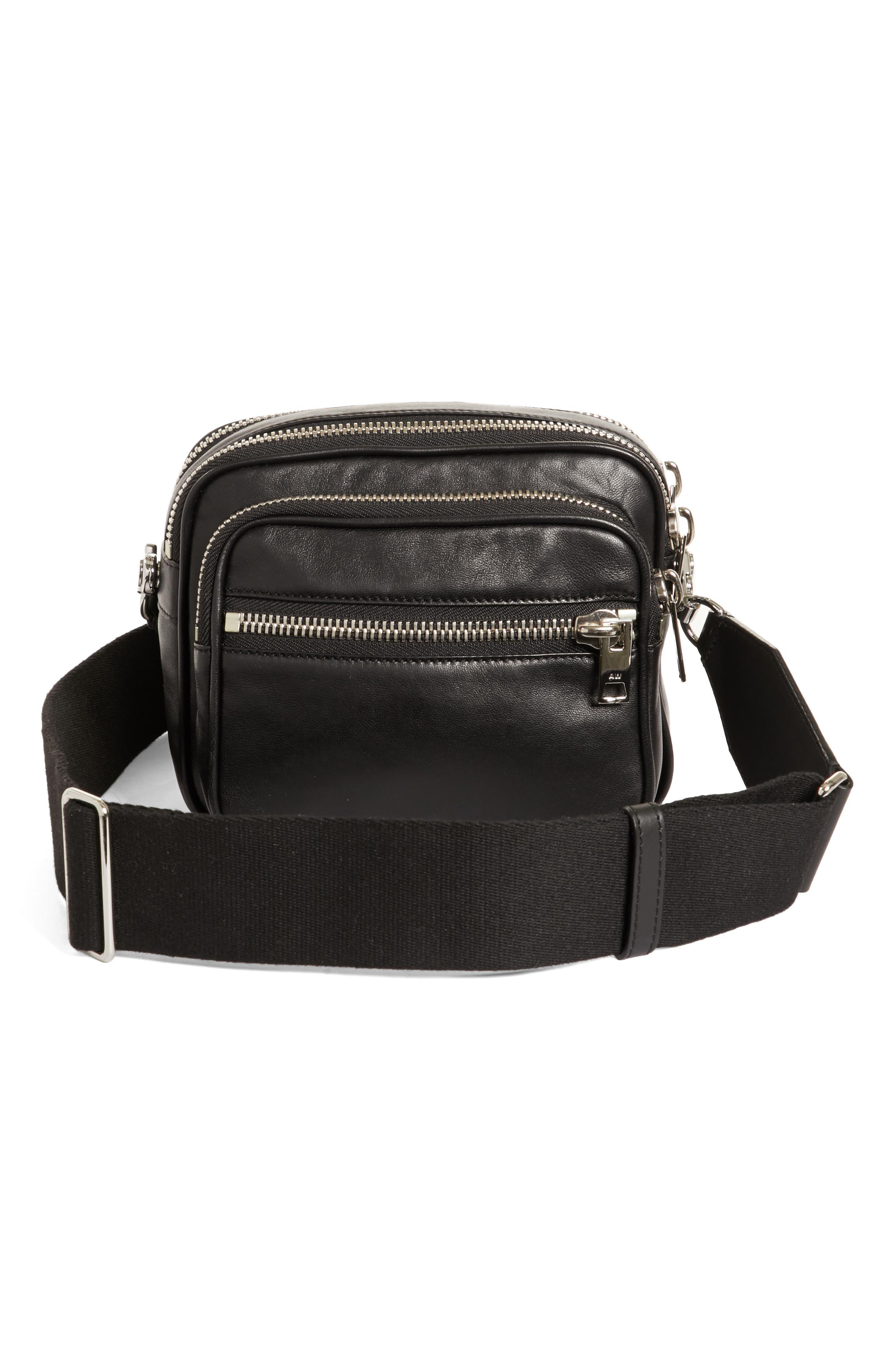 Large Attica Leather Crossbody Bag,                             Alternate thumbnail 3, color,                             Black