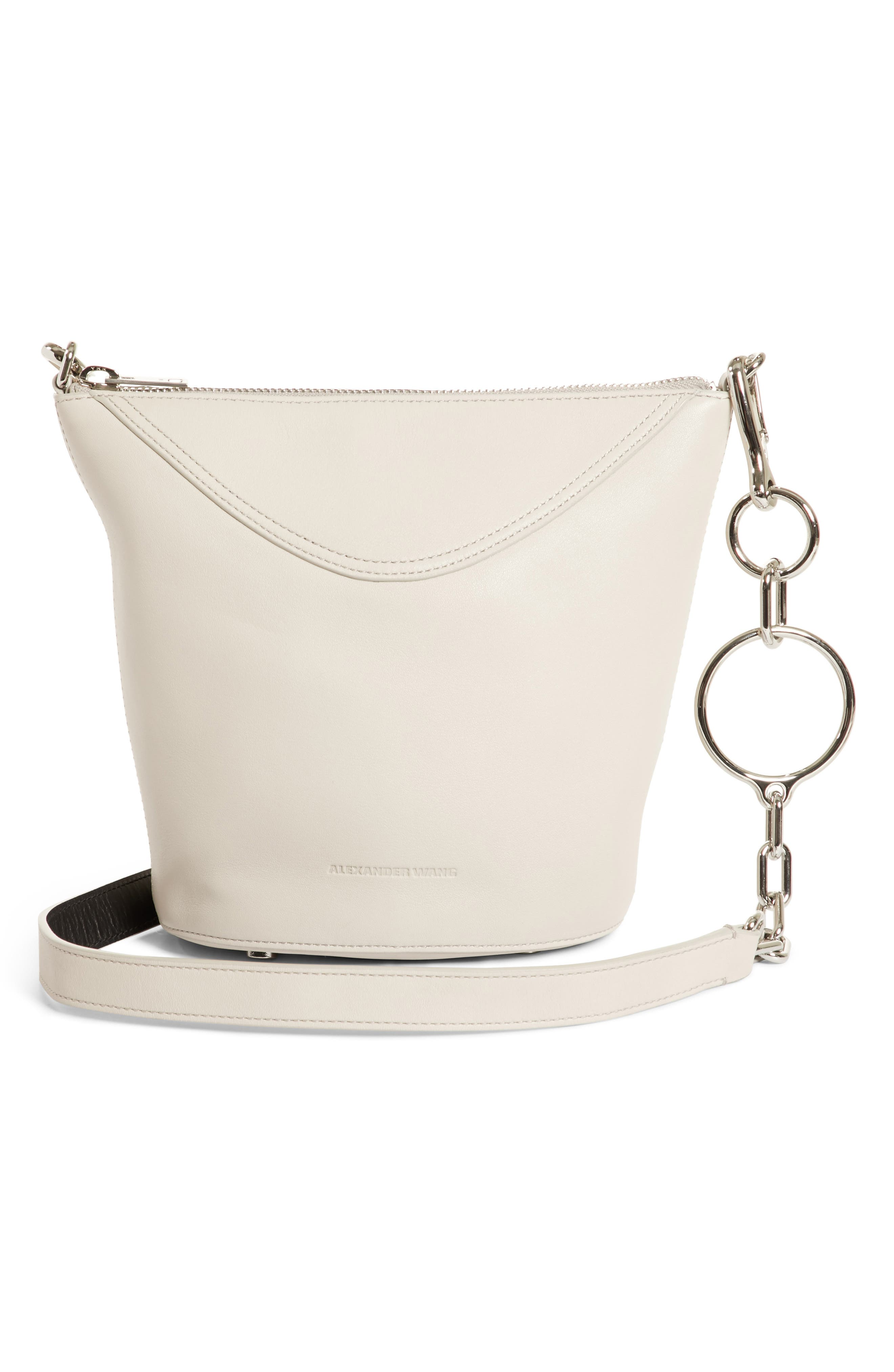 Ace Leather Bucket Bag,                             Alternate thumbnail 3, color,                             Smoke