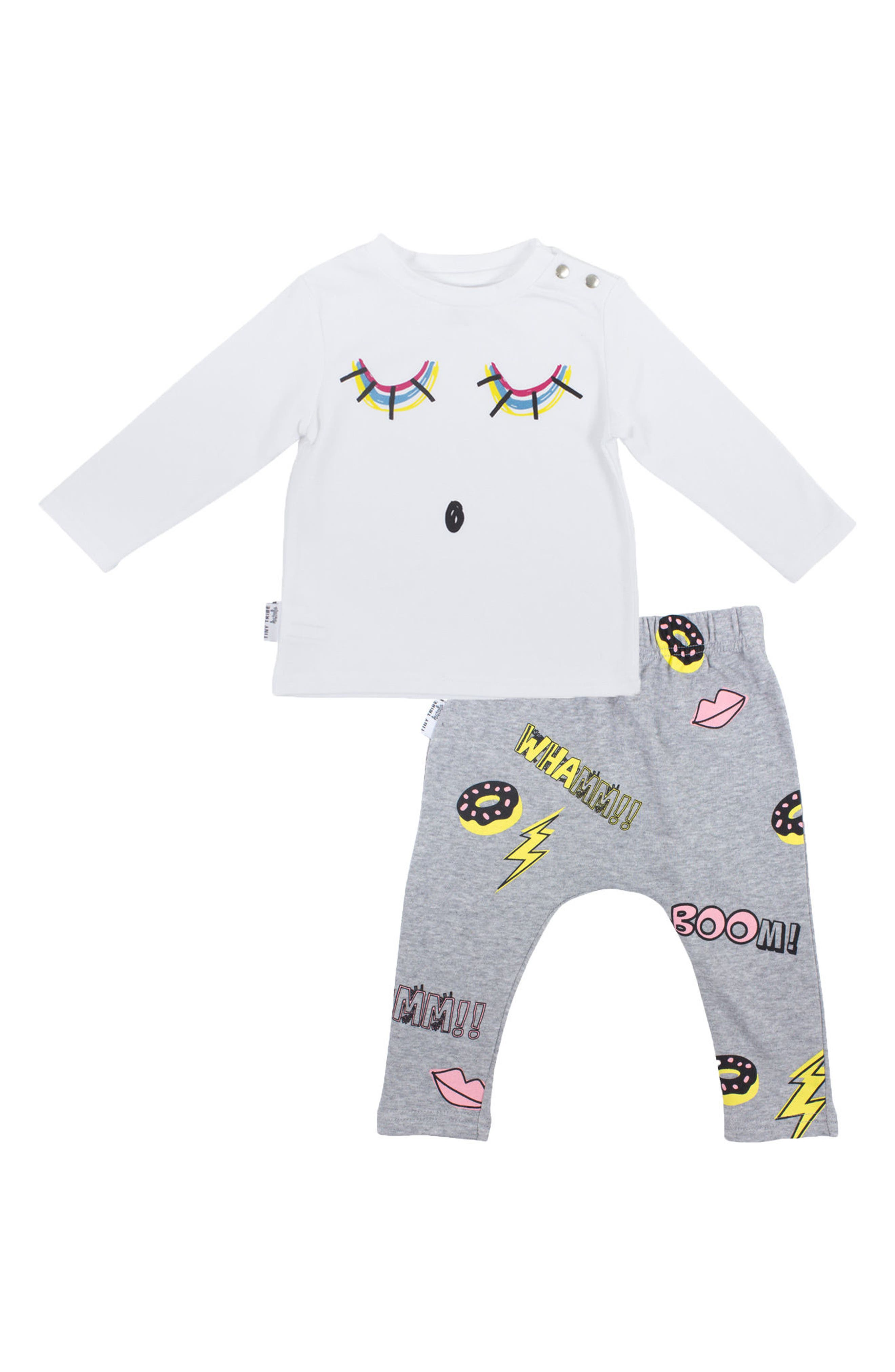 Alternate Image 1 Selected - Tiny Tribe Sleepy Kaboom Tee & Leggings Set (Baby Girls)