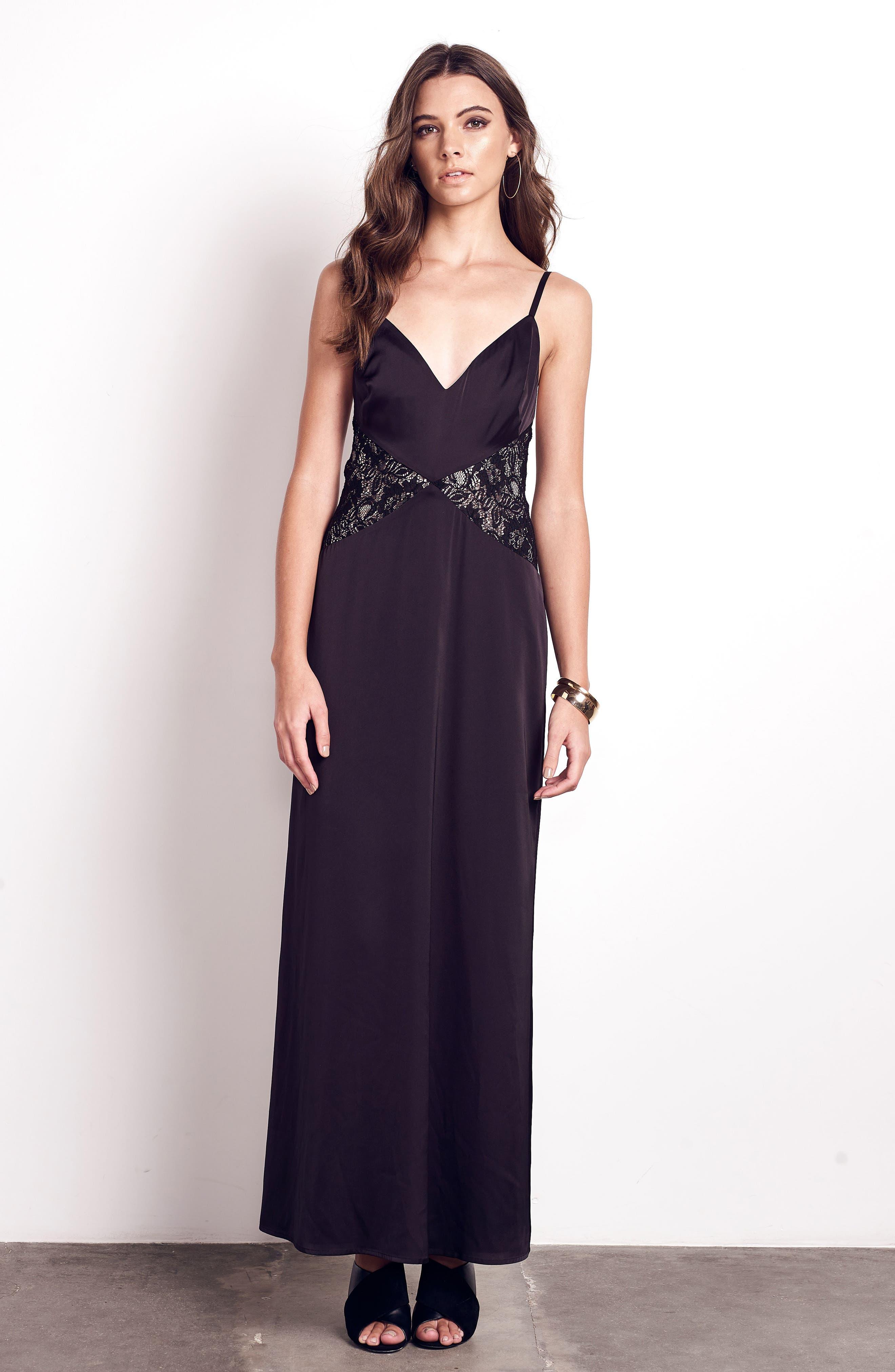 Femme Fatale Slip Dress,                             Alternate thumbnail 2, color,                             Black