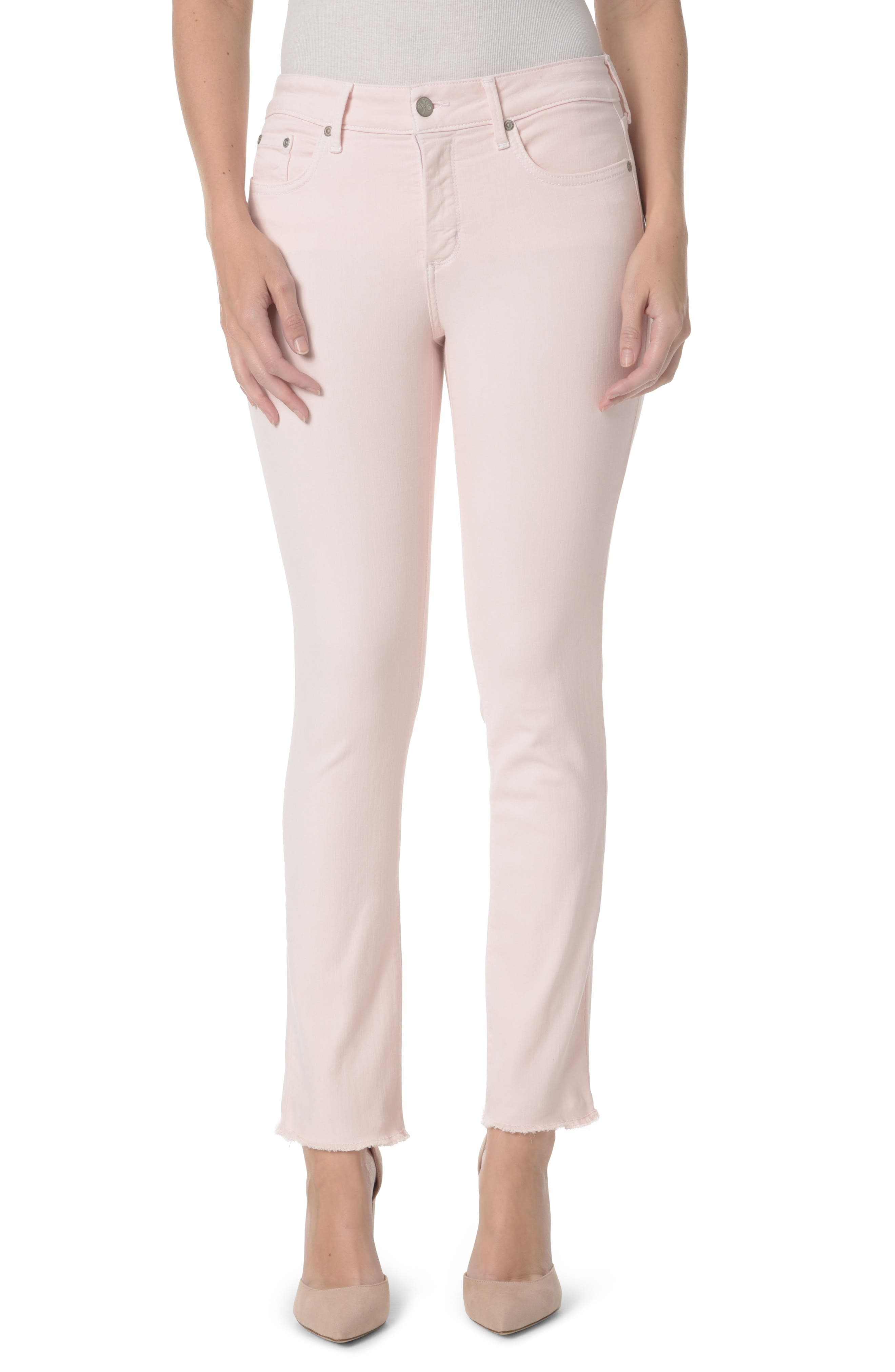 Alternate Image 1 Selected - NYDJ Sheri Frayed Hem Stretch Slim Ankle Jeans
