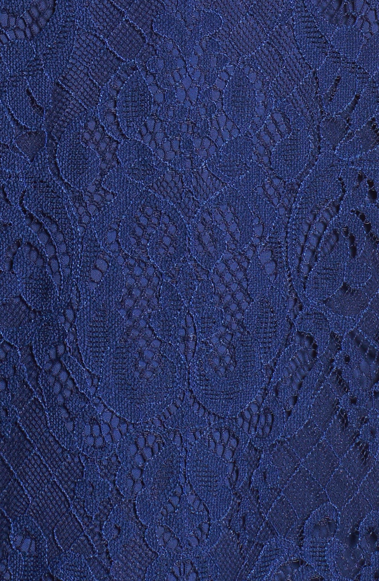 Cherie Lace Halter Sheath Dress,                             Alternate thumbnail 5, color,                             Blue