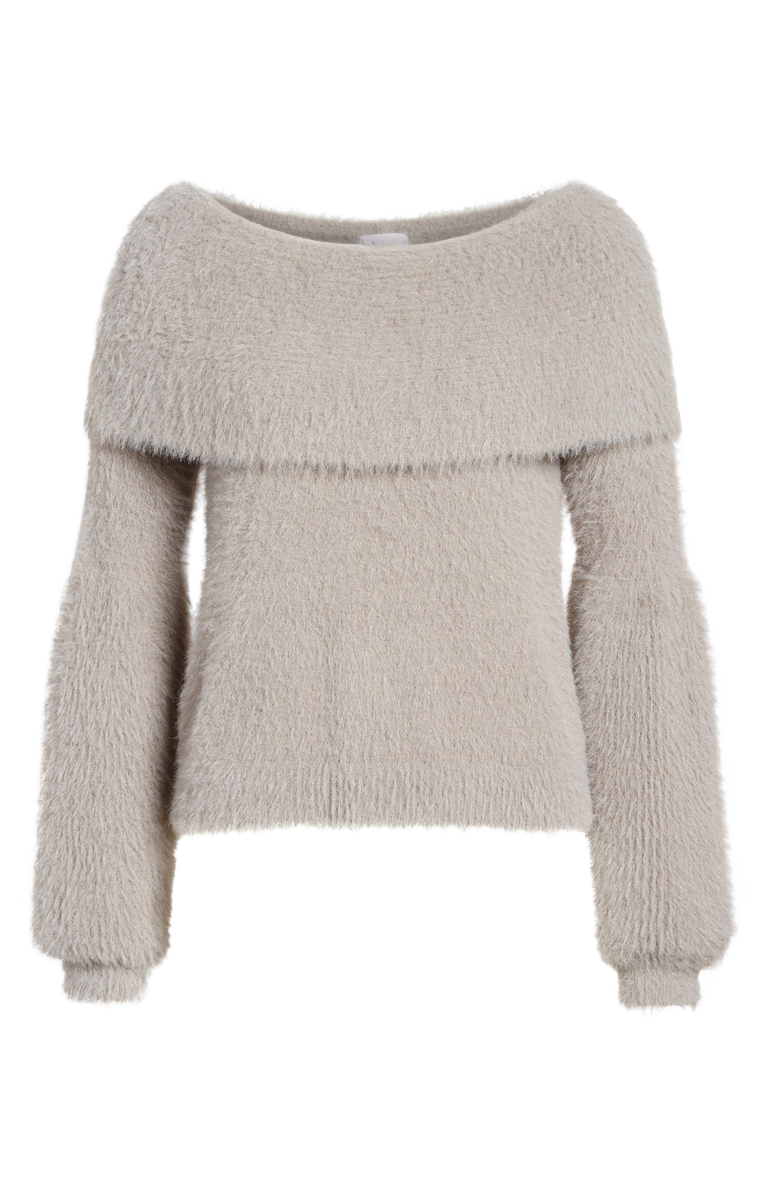 Off the Shoulder Sweater,                             Alternate thumbnail 6, color,                             Grey Cloudburst