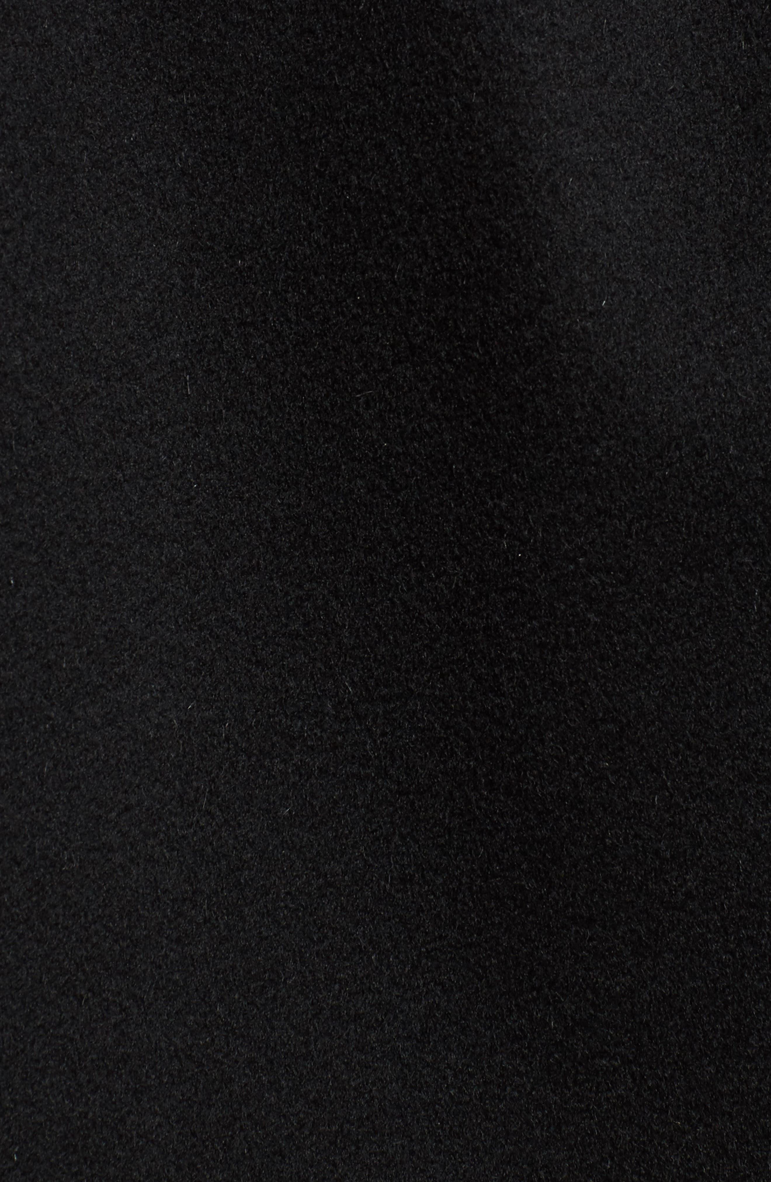 Genuine Fox Fur Lapel Wool & Cashmere Wrap Coat,                             Alternate thumbnail 5, color,                             Black