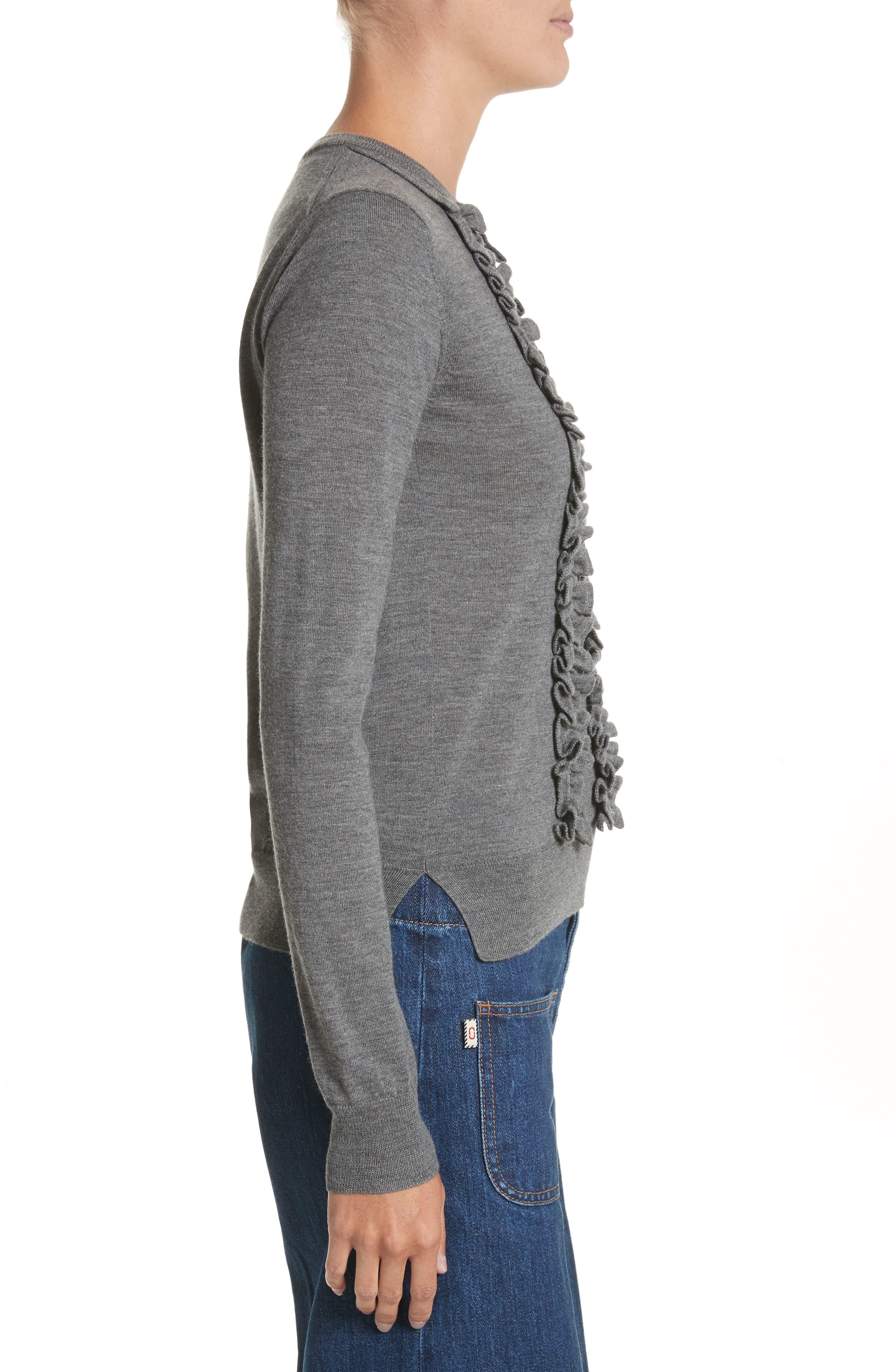 Ruffle Merino Wool Sweater,                             Alternate thumbnail 3, color,                             Dark Grey Melange