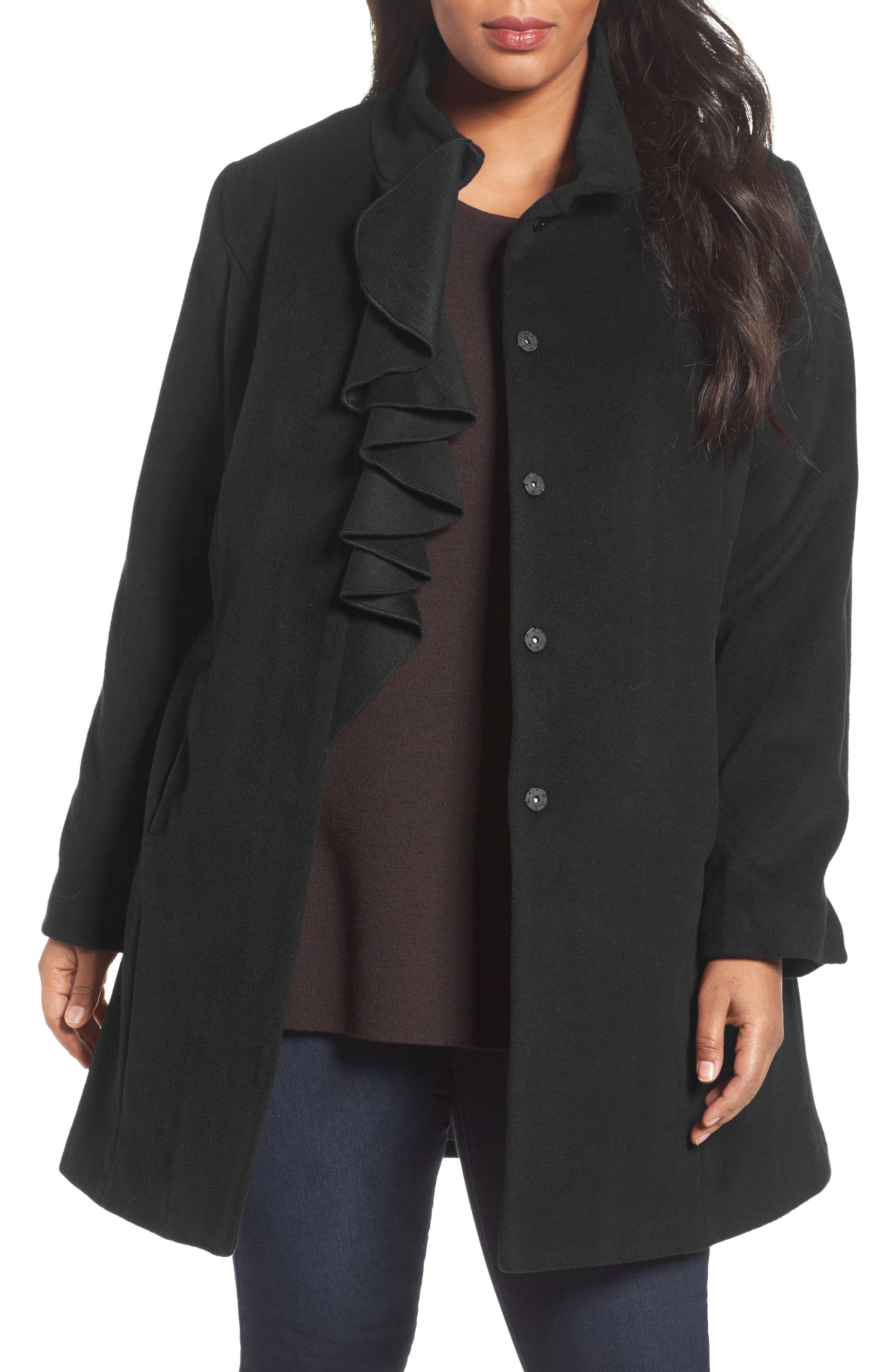 Kate Ruffle Wool Blend Coat,                         Main,                         color, Black