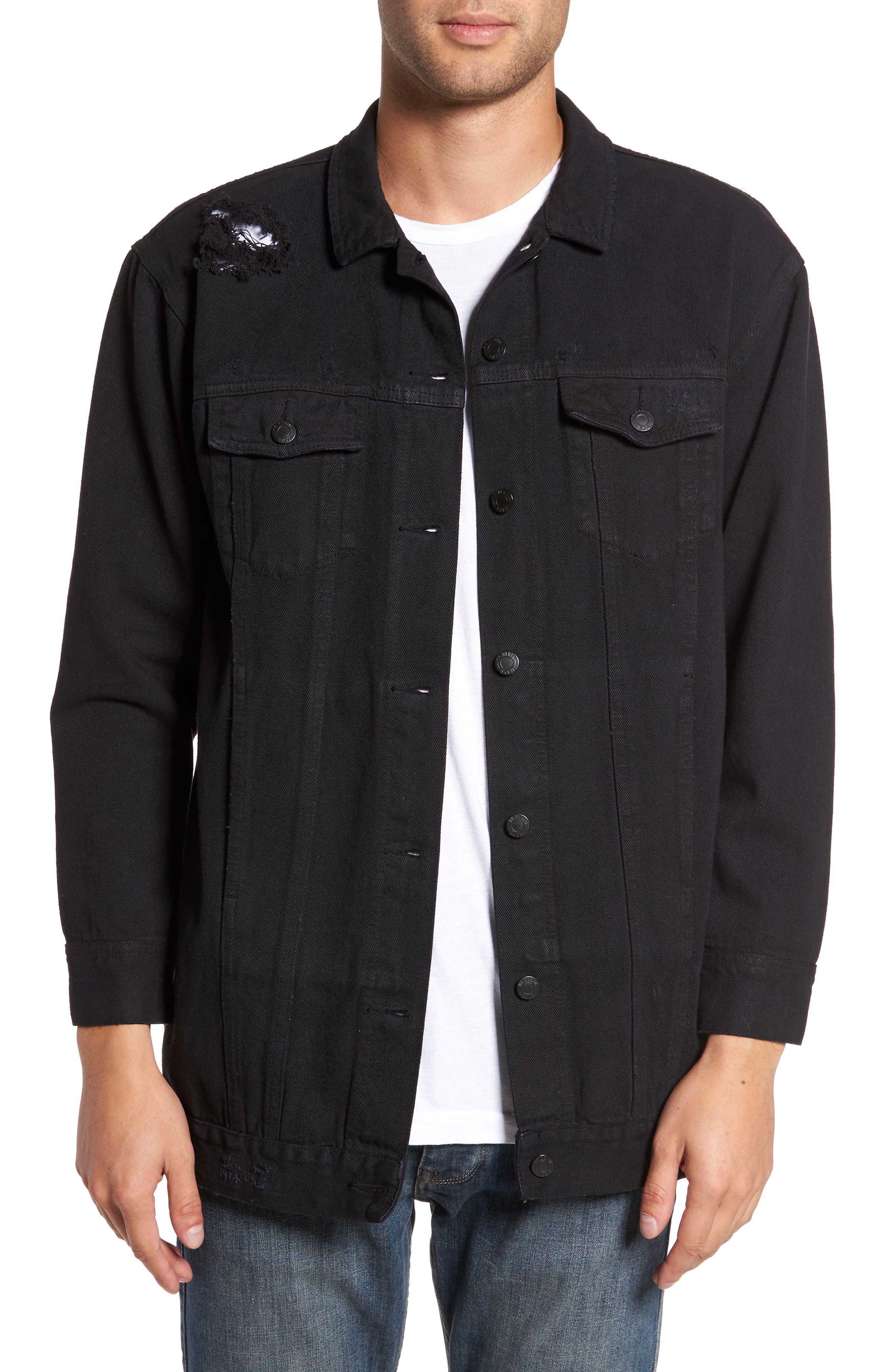 Lindso Distressed Denim Jacket,                             Main thumbnail 1, color,                             Black Damage