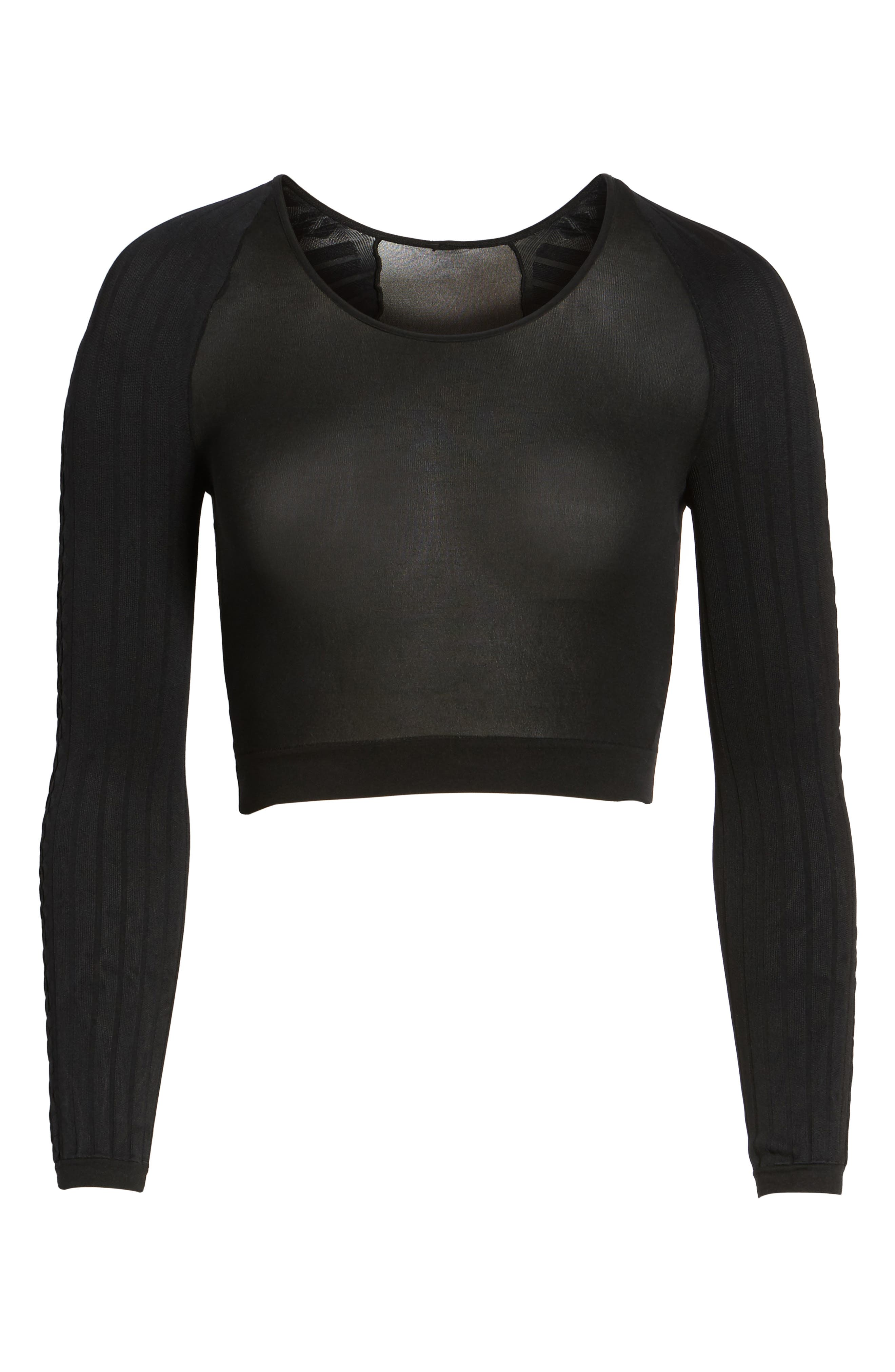 SPANX Arm Tights<sup>™</sup> Cable Layering Top,                             Alternate thumbnail 6, color,                             Black Cable