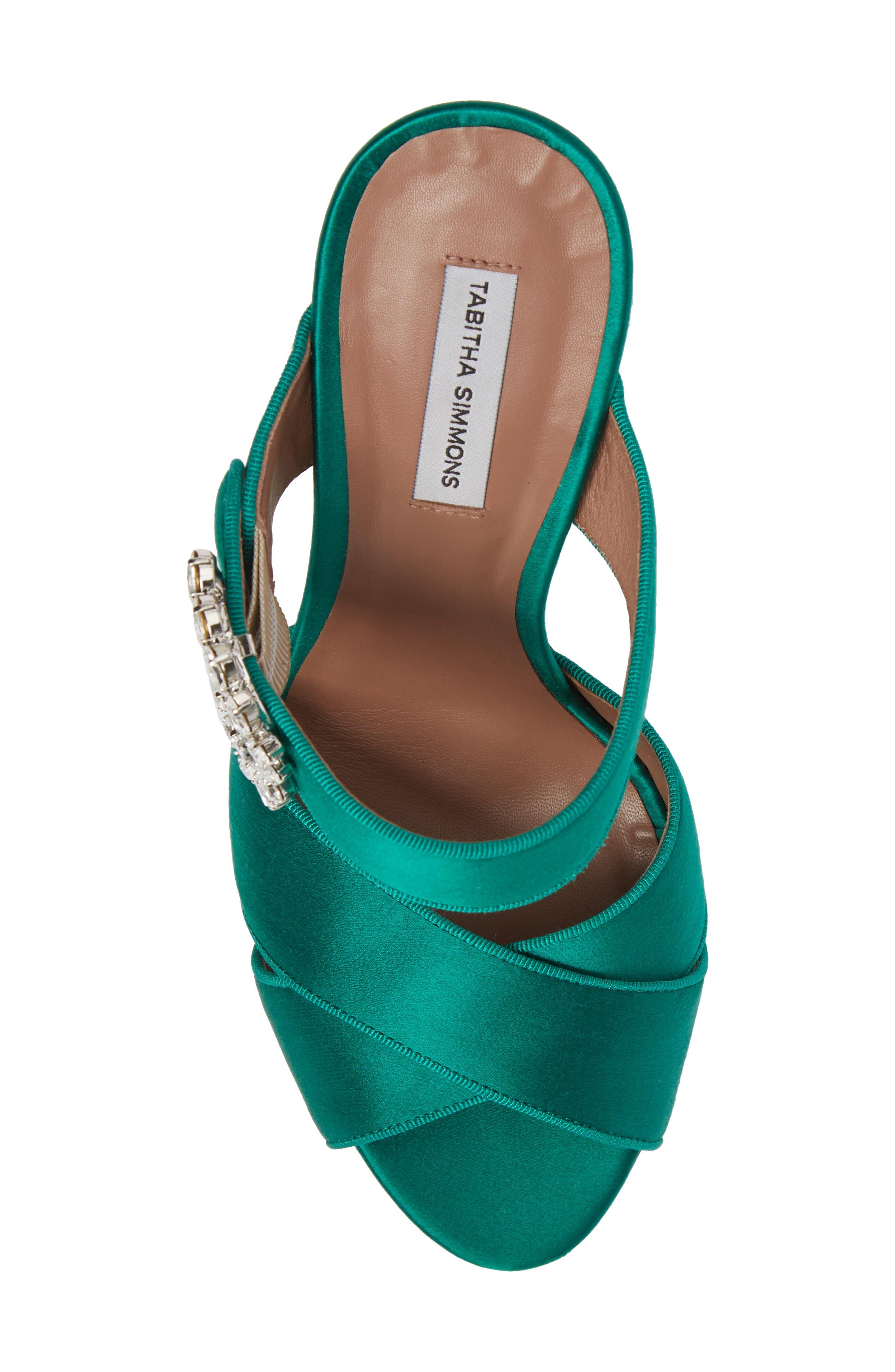 Reyner Crystal Buckle Sandal,                             Alternate thumbnail 5, color,                             Emerald Green