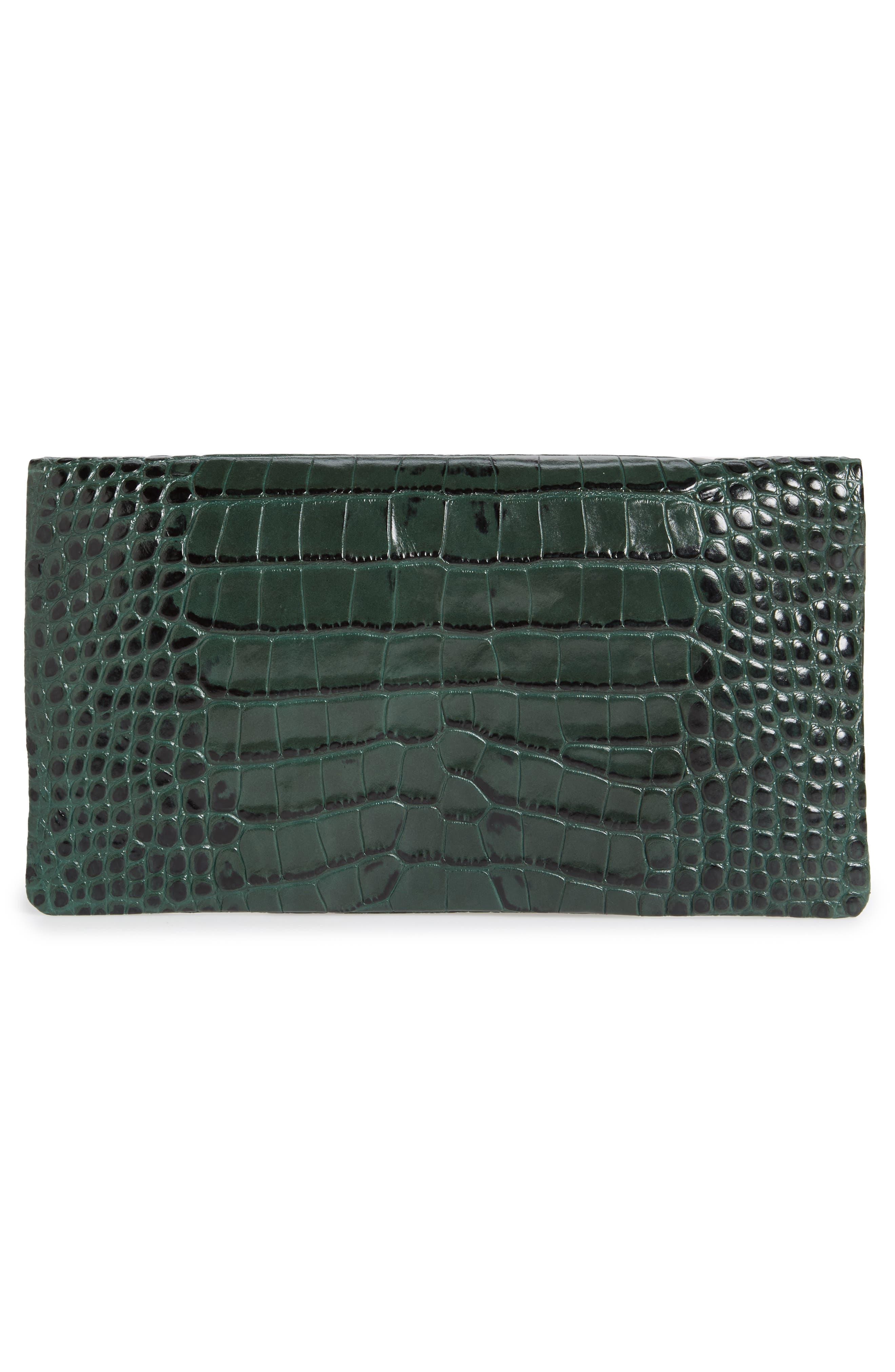 Alternate Image 2  - Clare V. Croc Embossed Leather Foldover Clutch