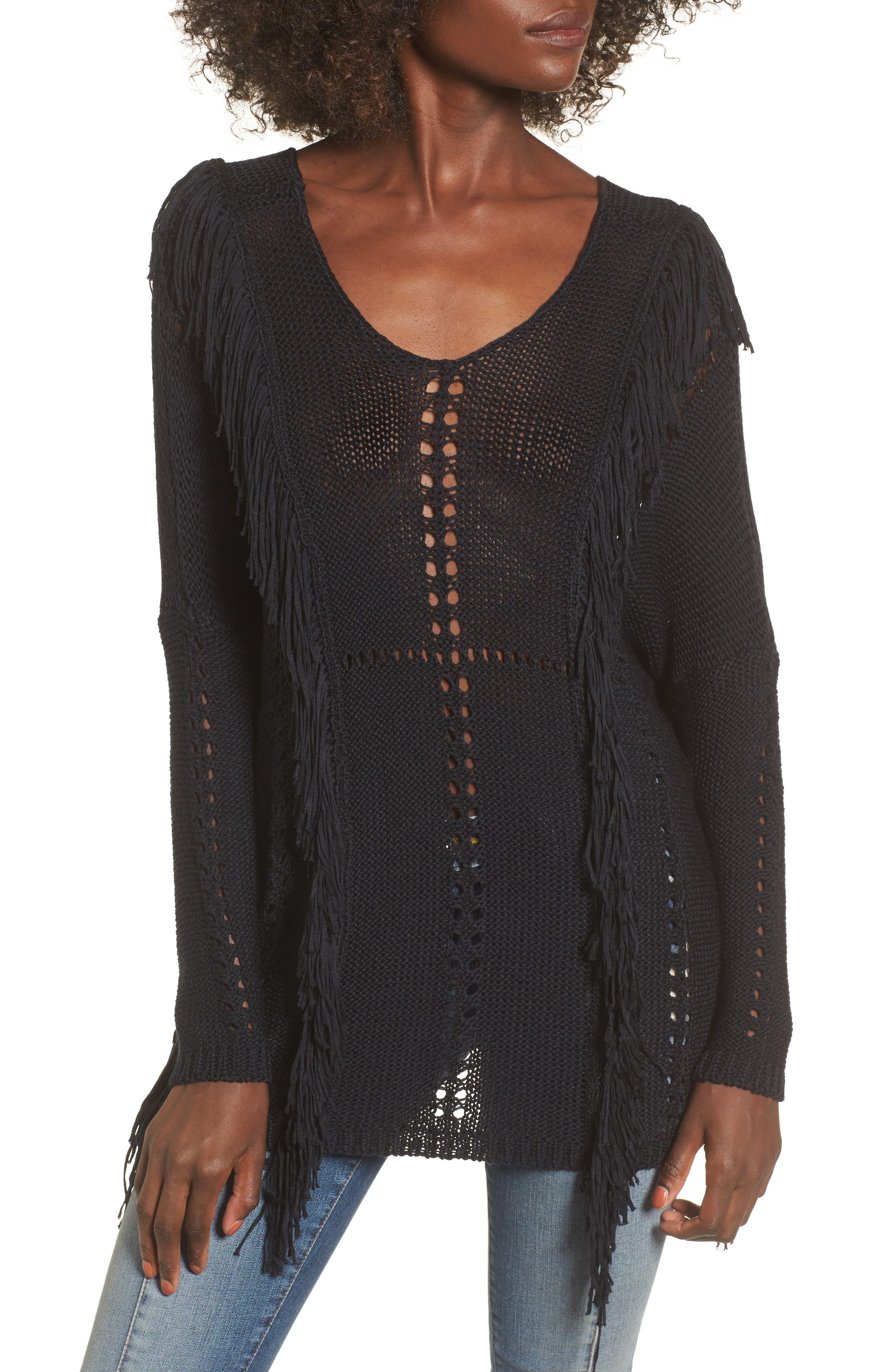Enya Fringe Sweater,                         Main,                         color, Black